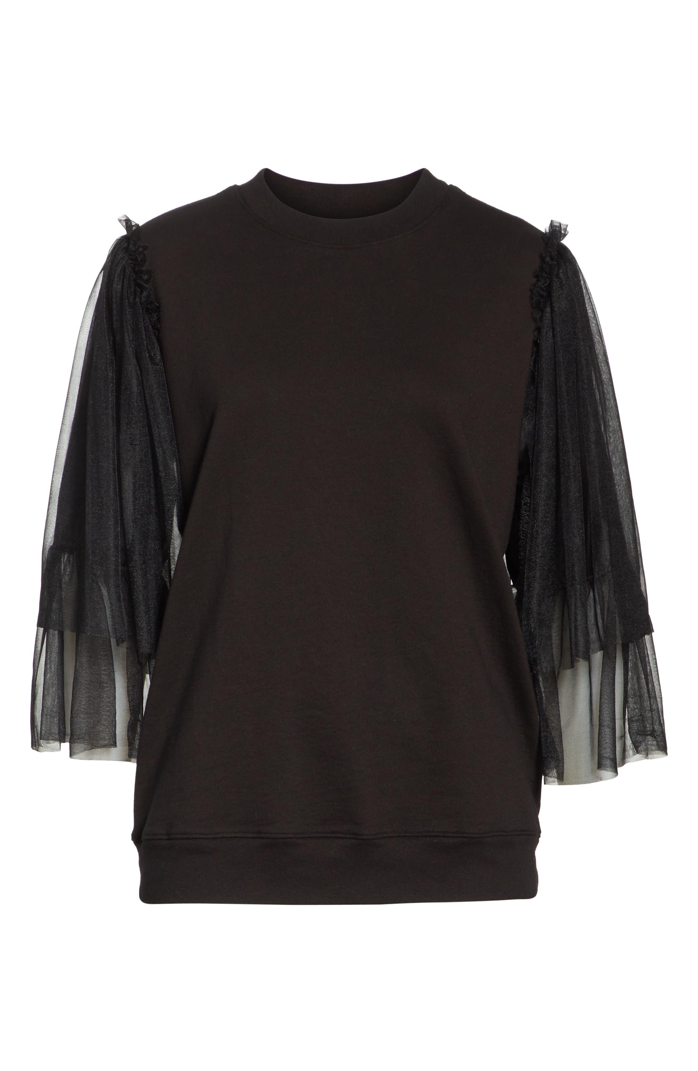 Tulle Sleeve Sweatshirt,                             Alternate thumbnail 6, color,                             Black