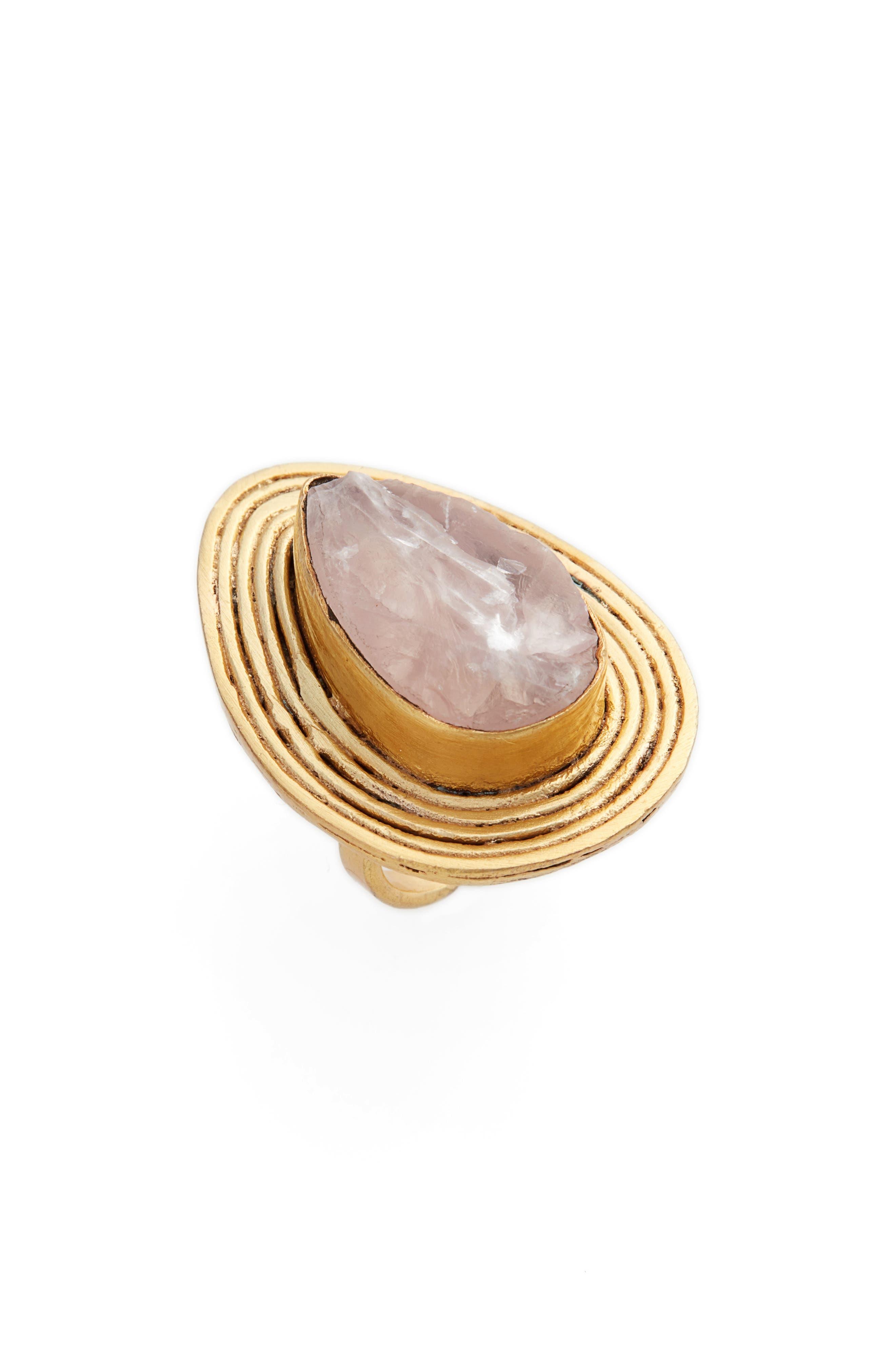 Narita Tourmaline Ring,                             Main thumbnail 1, color,                             Gold/ Pink Quartz