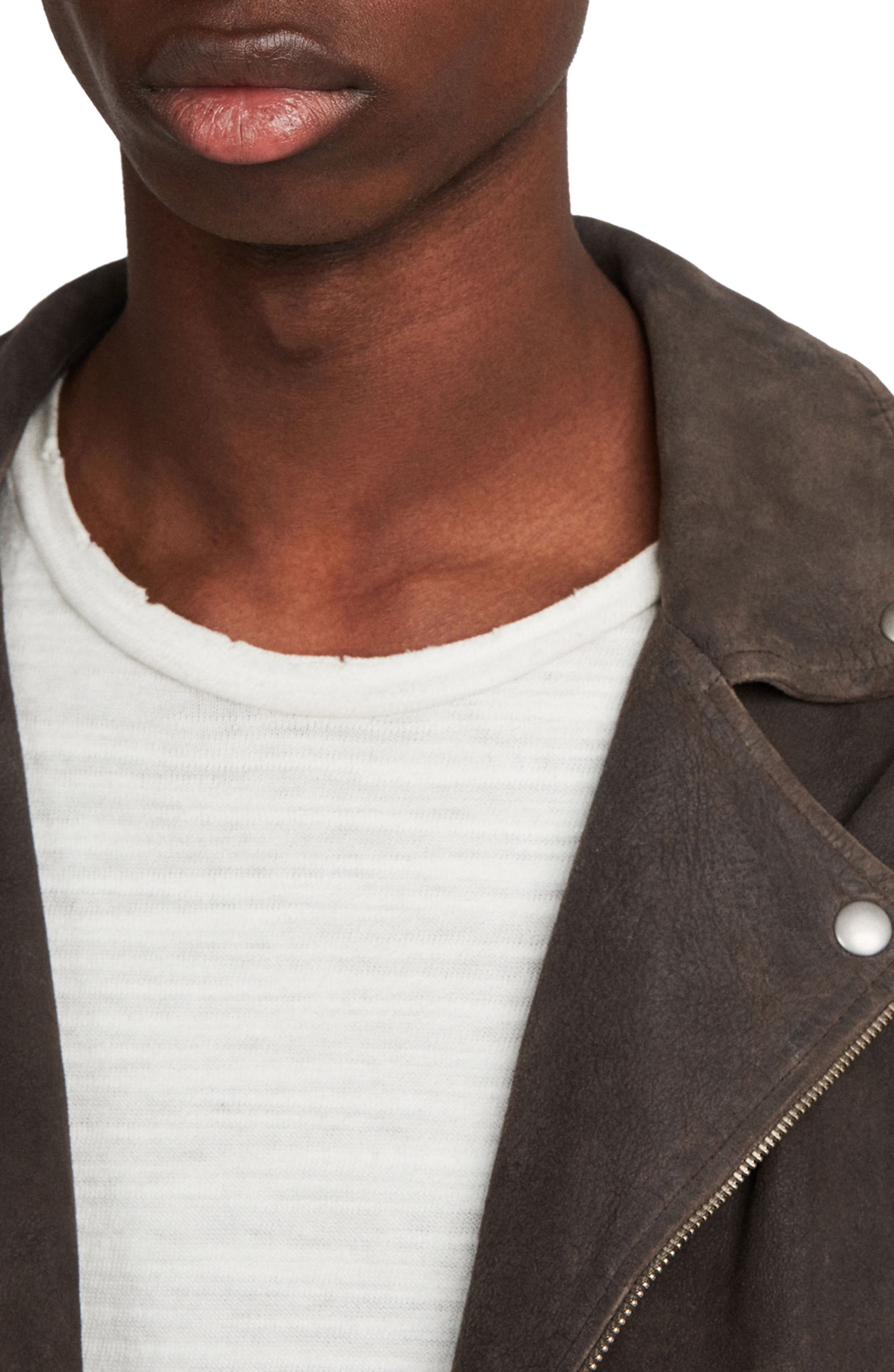 Kano Suede Moto Jacket,                             Alternate thumbnail 6, color,                             Gravel