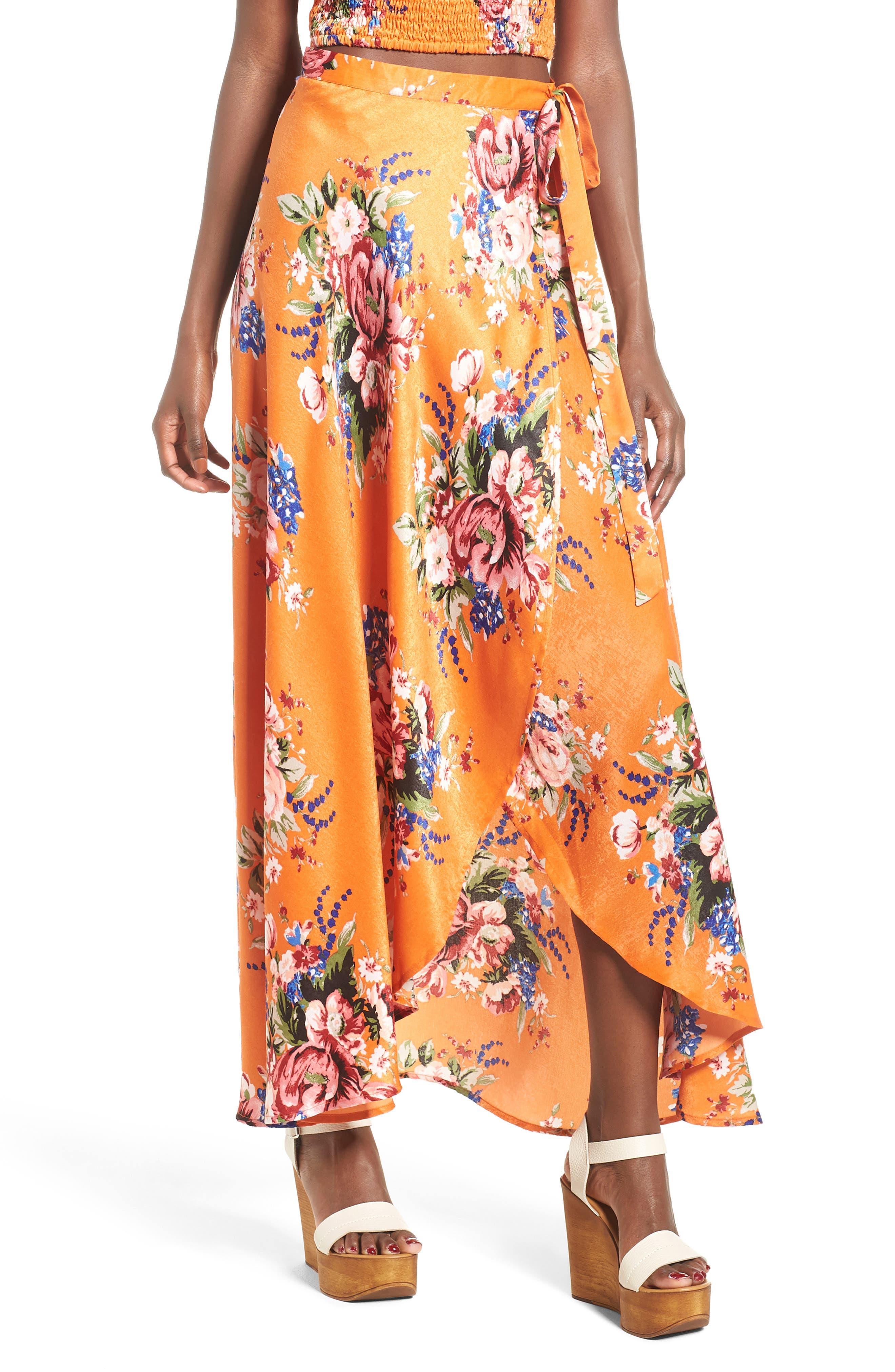 Zoey Satin Wrap Skirt,                             Main thumbnail 1, color,                             Orange Rose