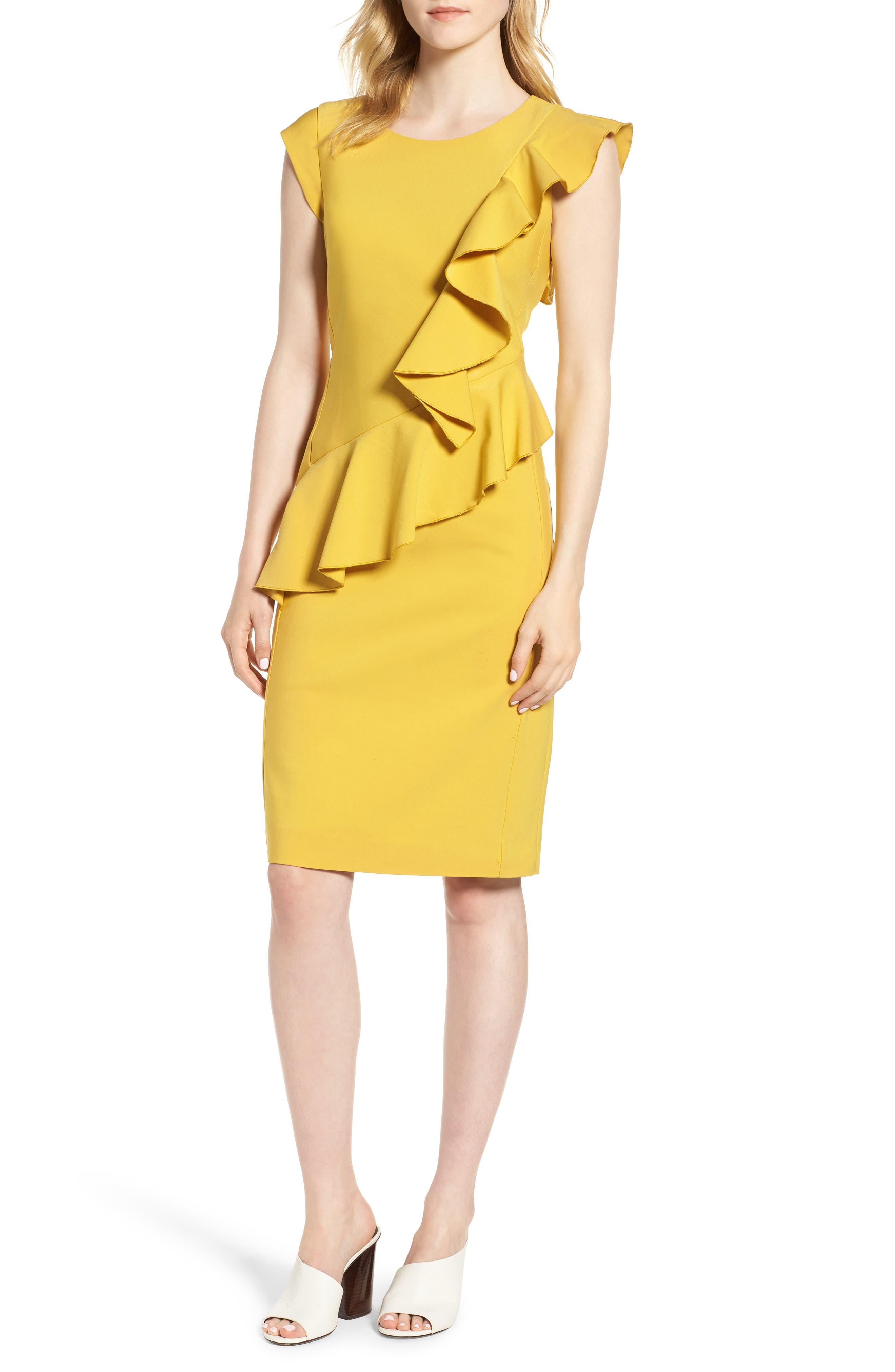 Ruffle Trim Sheath Dress,                             Main thumbnail 1, color,                             Yellow Tea