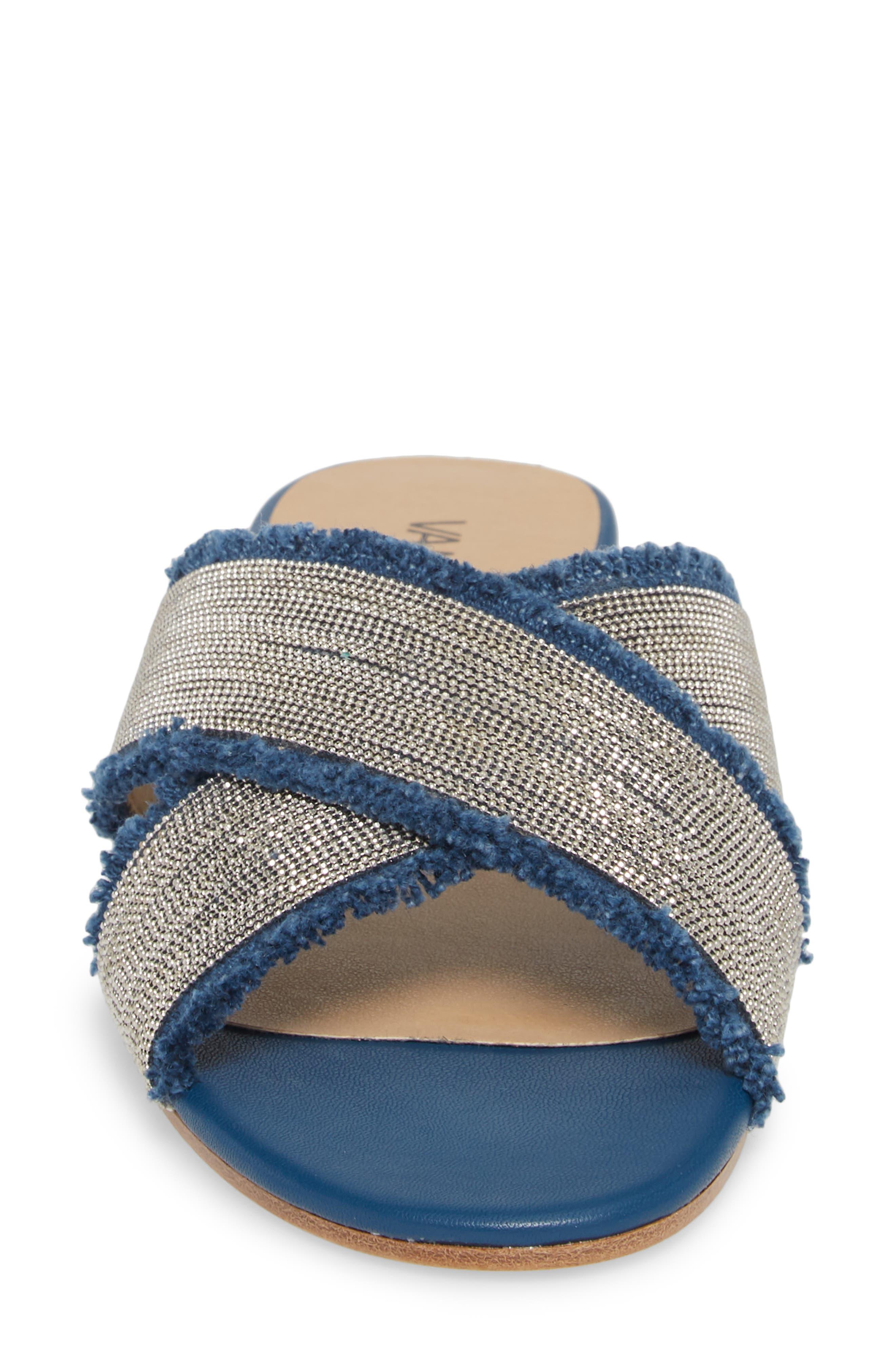 Baret Embellished Cross Strap Slide Sandal,                             Alternate thumbnail 4, color,                             Denim Fabric