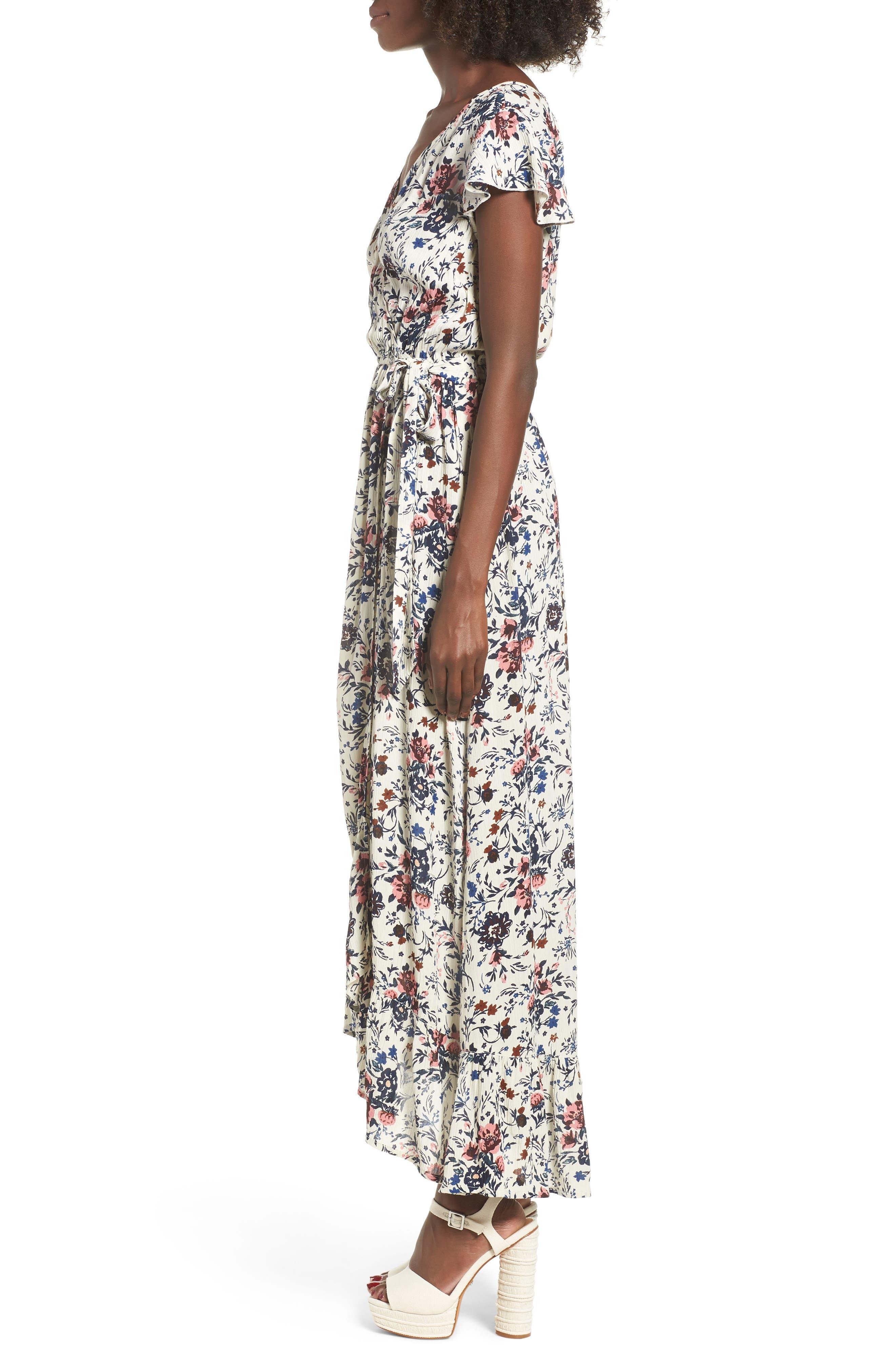 Floral Maxi Dress,                             Alternate thumbnail 4, color,                             Ivory Floral