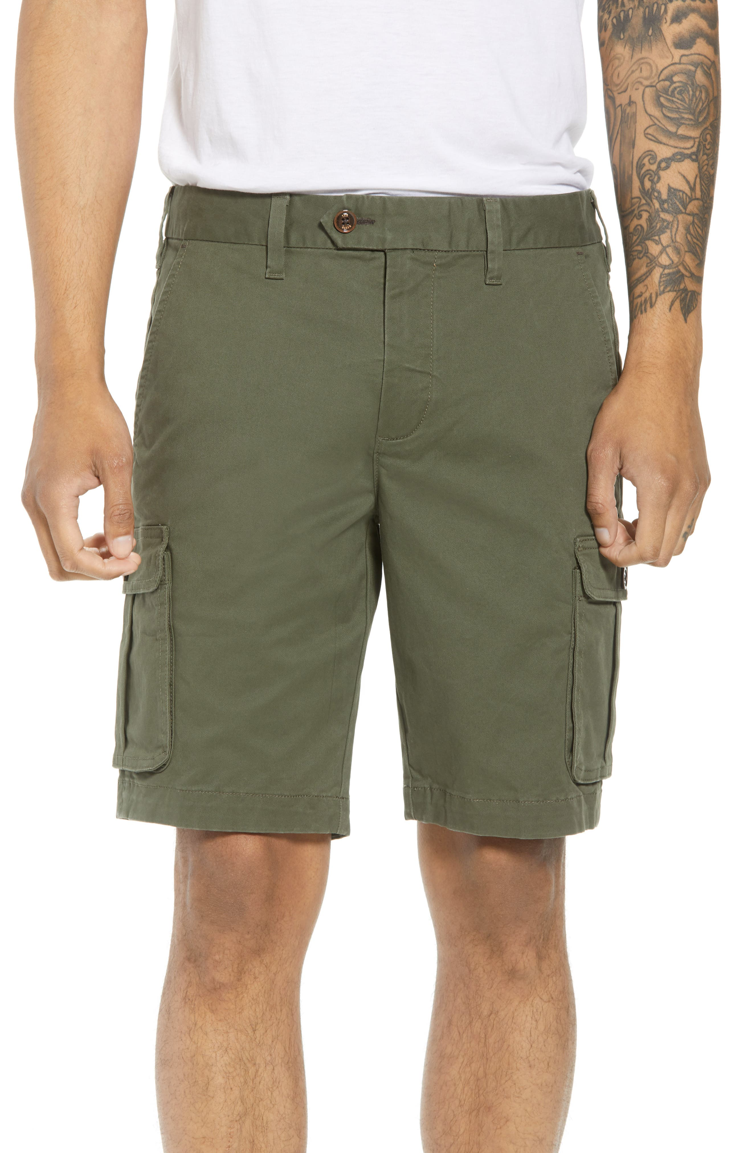 Ted Baker Cargogo Slim Fit Shorts,                             Main thumbnail 1, color,                             Khaki