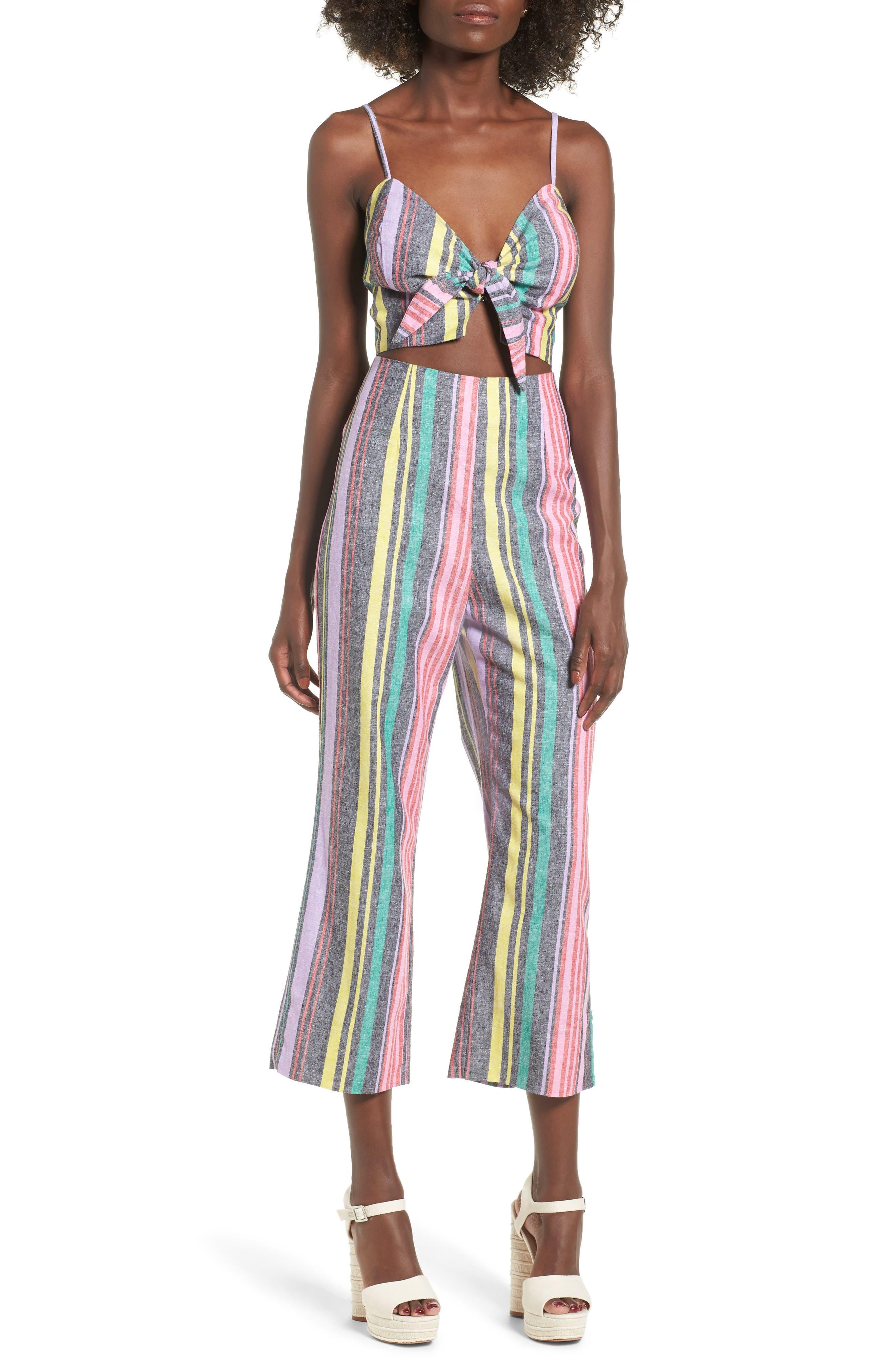 Karina High Waist Crop Flare Pant,                             Alternate thumbnail 2, color,                             Rainbow Stripe