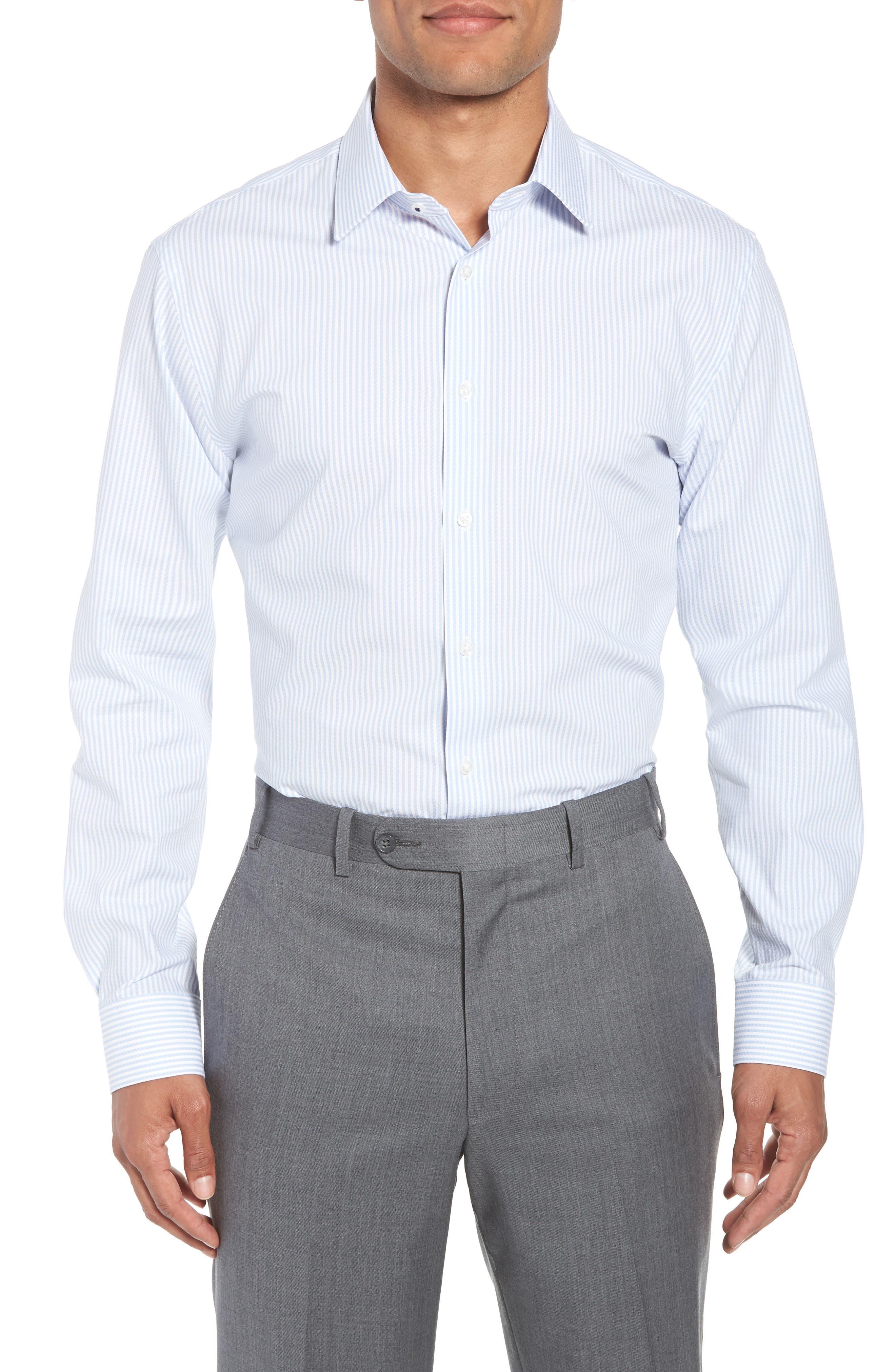 Tech-Smart Trim Fit Stripe Stretch Dress Shirt,                         Main,                         color, Blue Brunnera