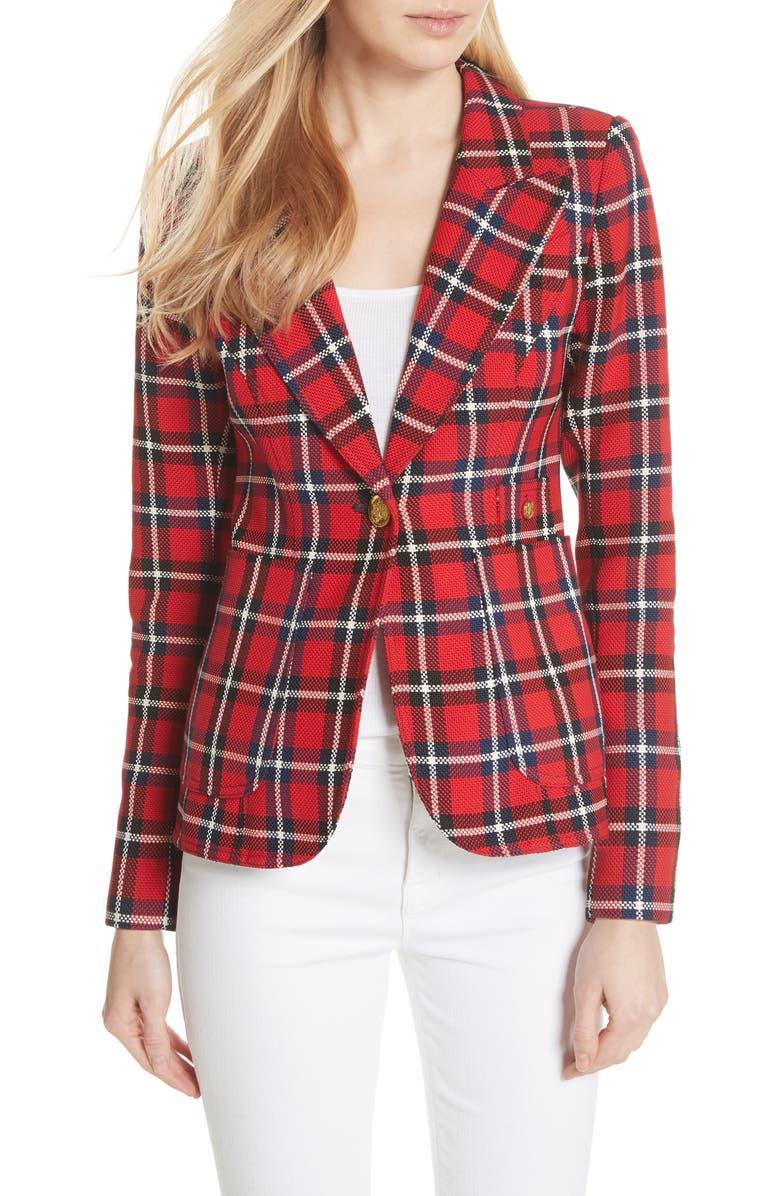 Duchess Print Blazer,                         Main,                         color, True Red Plaid