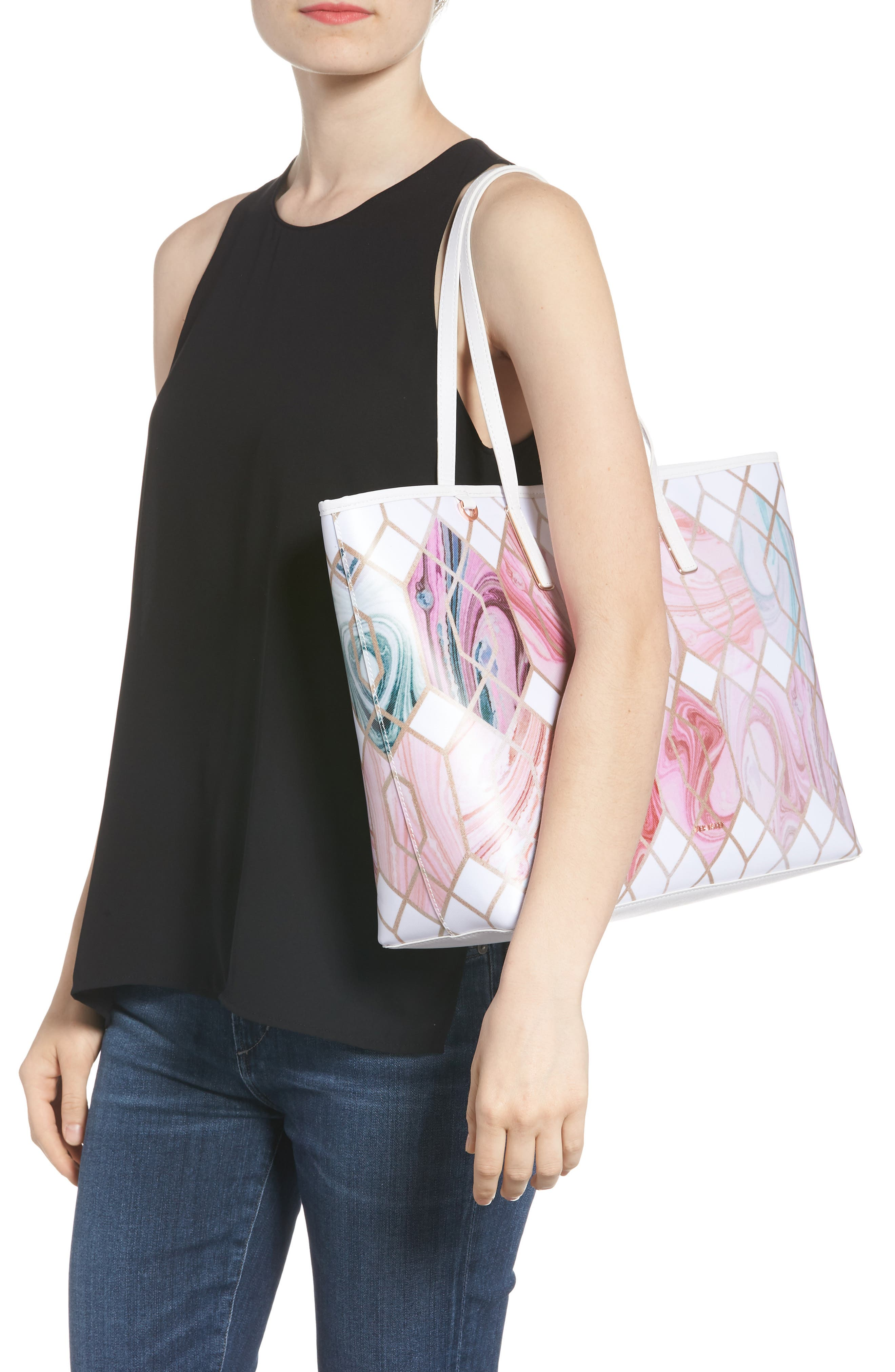 Aamy Sea of Clouds Bloom Canvas Tote,                             Alternate thumbnail 2, color,                             White