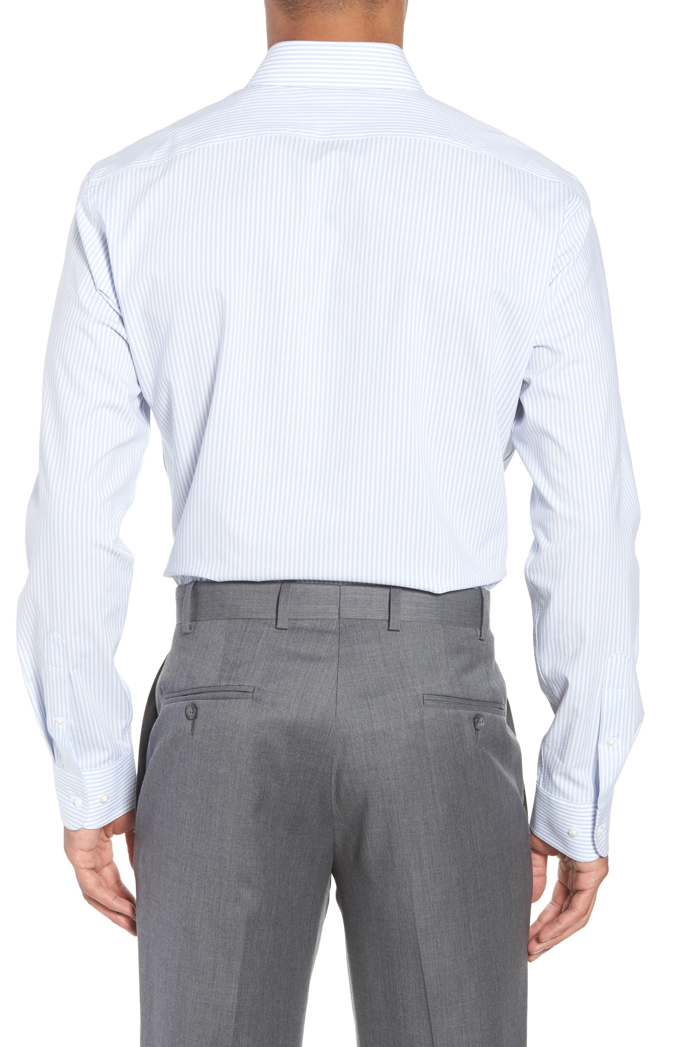 Tech-Smart Trim Fit Stripe Stretch Dress Shirt,                             Alternate thumbnail 3, color,                             Blue Brunnera