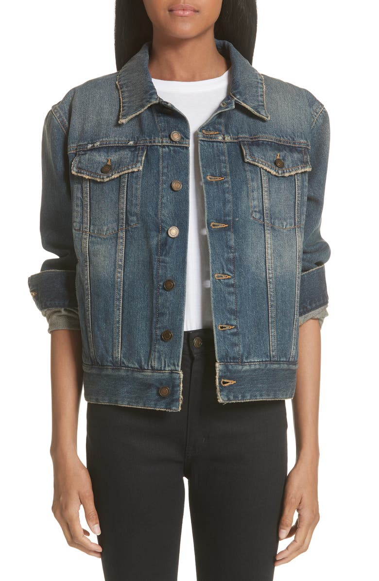 Heart Cutout Boyfriend Denim Jacket
