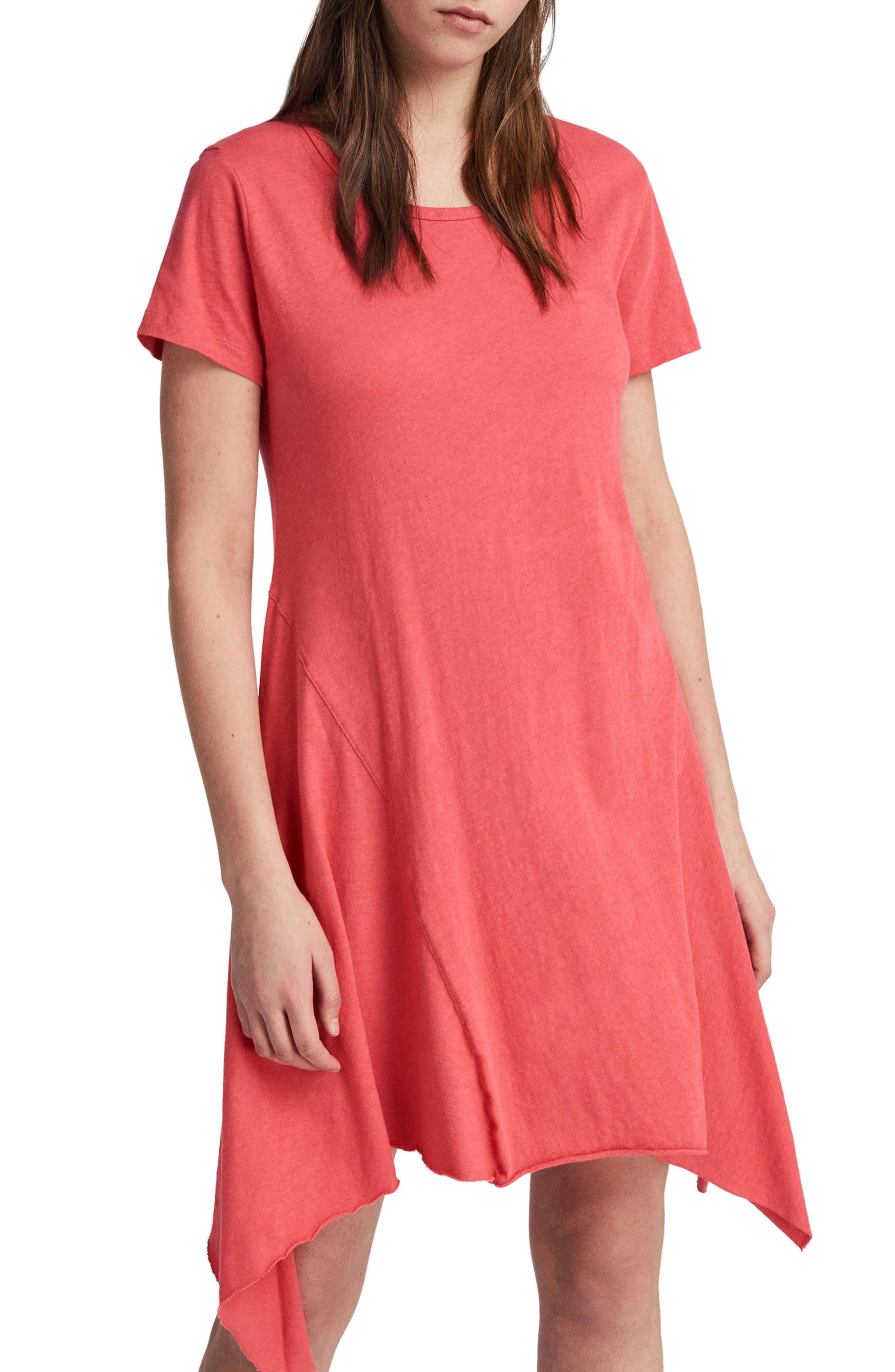 Ella Fifi Handkerchief Hem T-Shirt Dress,                             Alternate thumbnail 4, color,                             Coral Pink