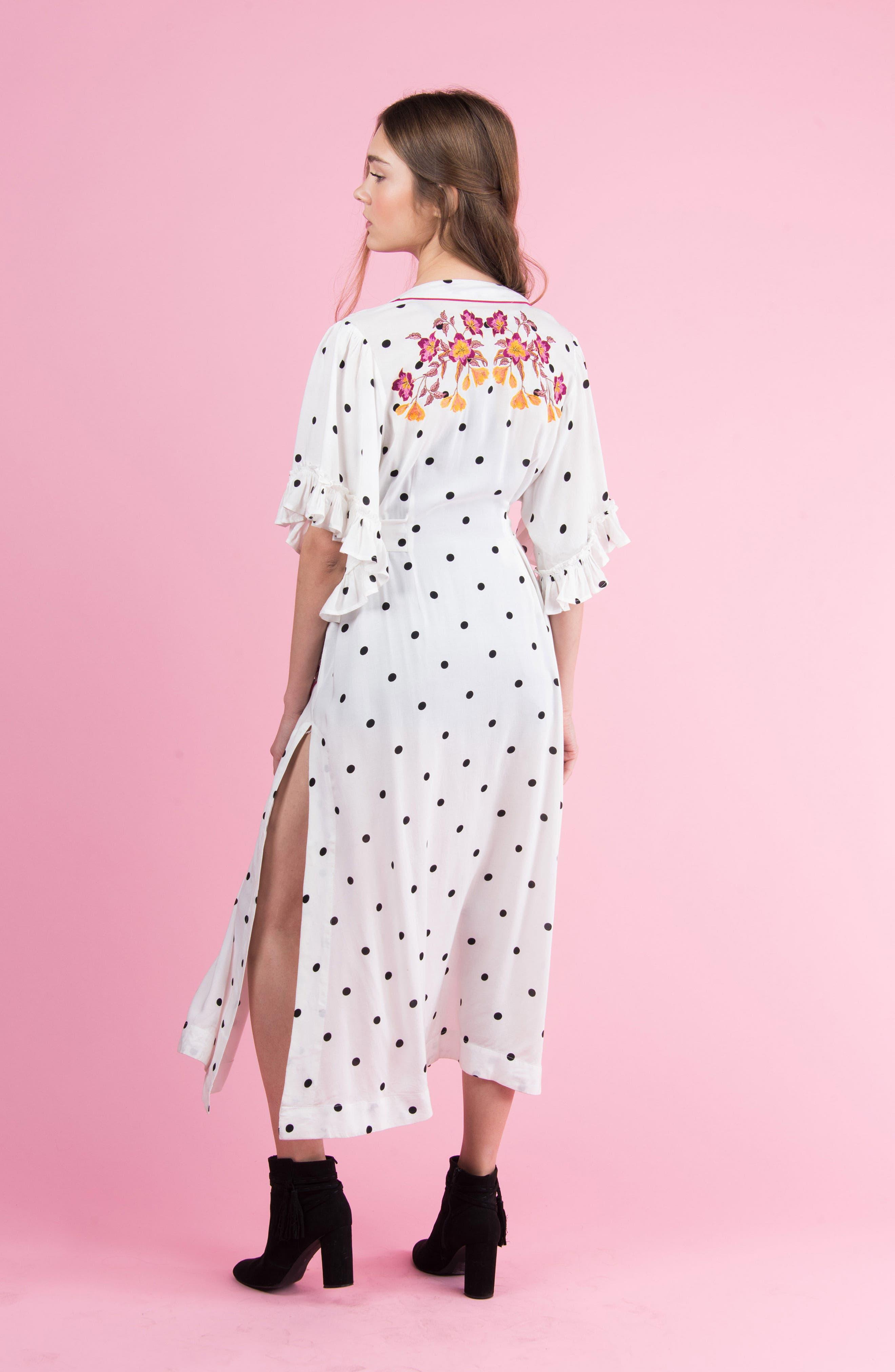 Hot Spot Kimono,                             Alternate thumbnail 8, color,                             Black/ White Polka Dot Print