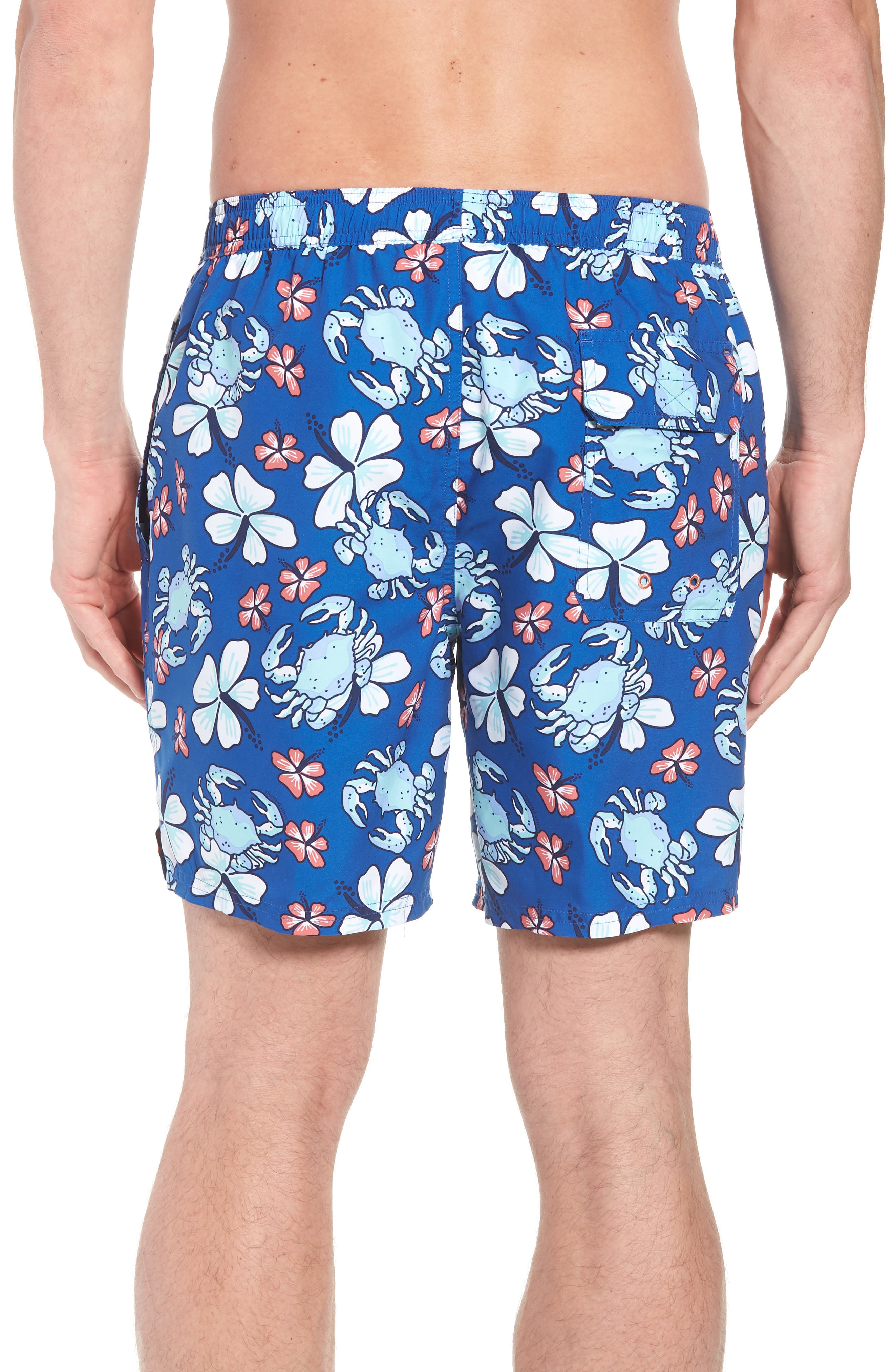 Chappy Crab Floral Swim Trunks,                             Alternate thumbnail 2, color,                             Yacht Blue