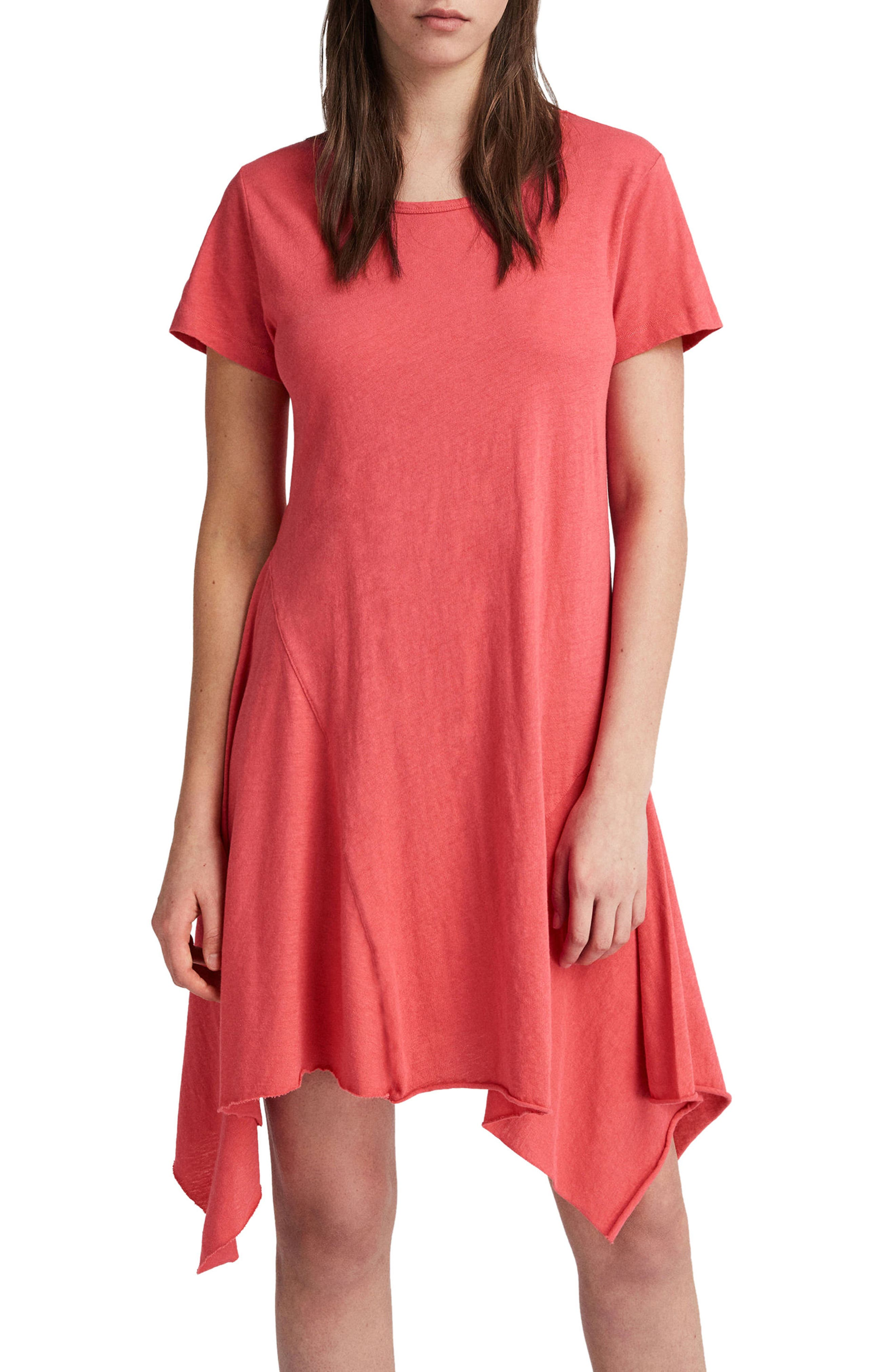 Ella Fifi Handkerchief Hem T-Shirt Dress,                             Alternate thumbnail 3, color,                             Coral Pink