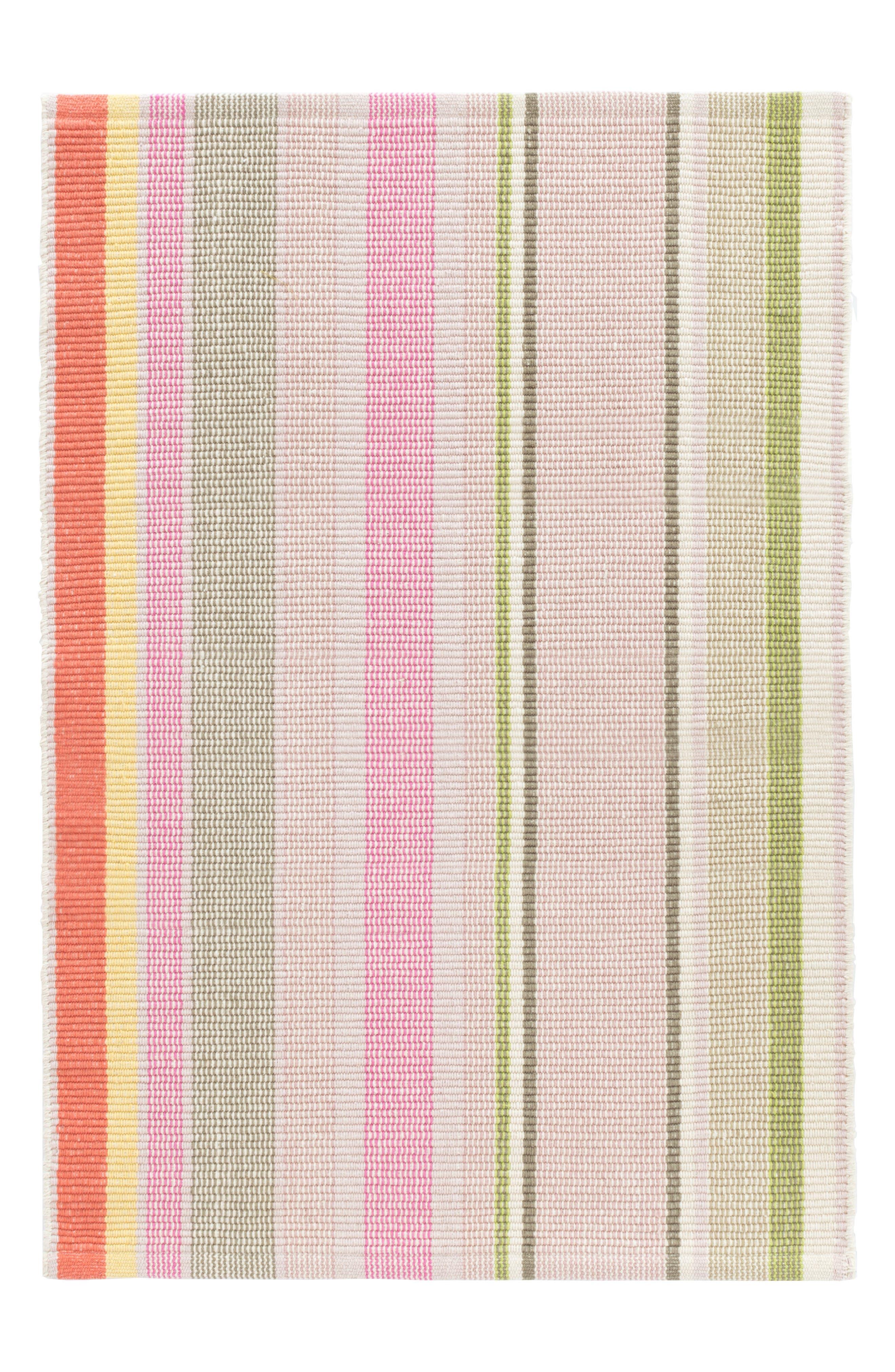 Paris Stripe Woven Cotton Rug,                         Main,                         color, Pink