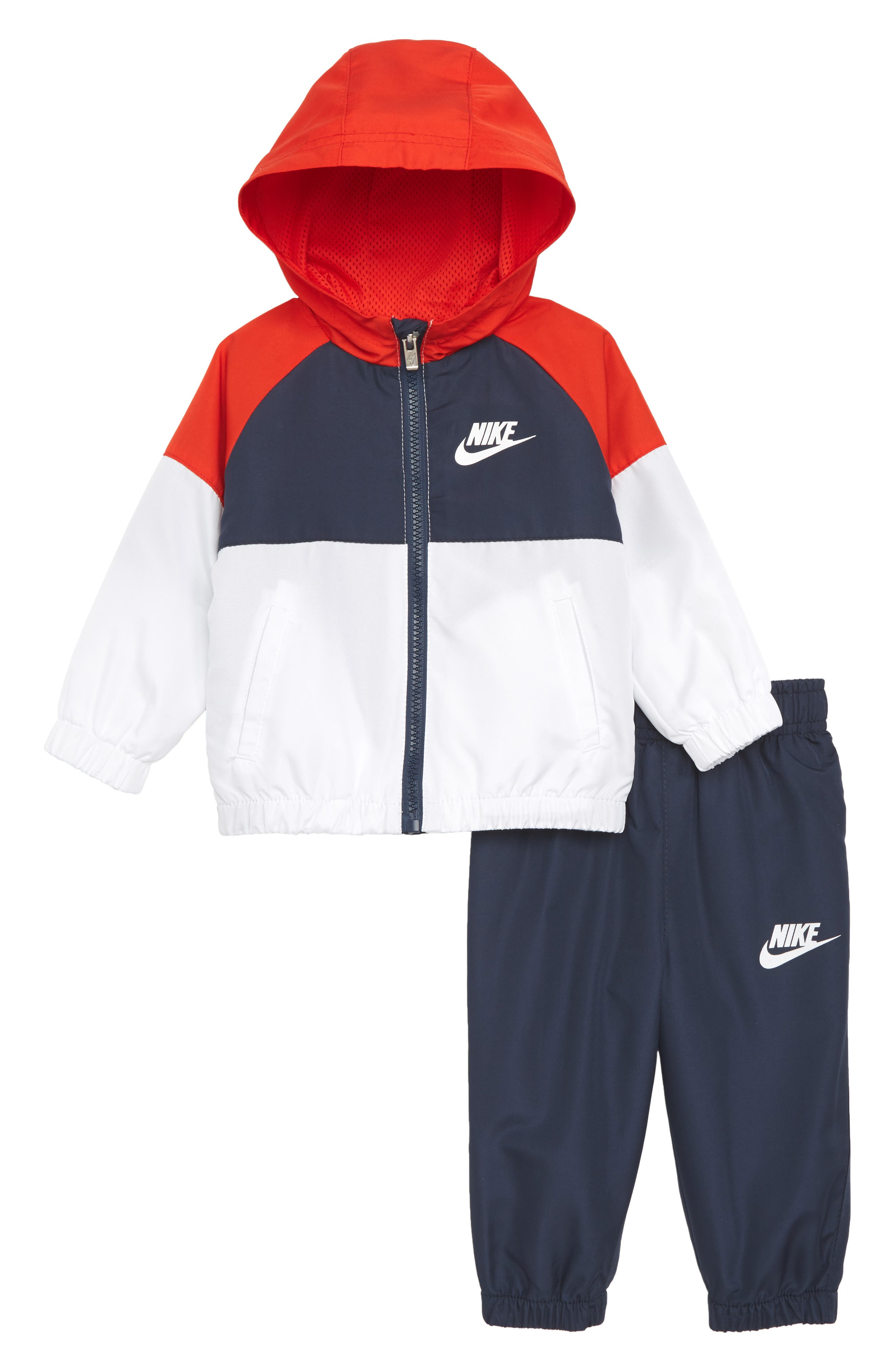 Hooded Windbreaker Jacket & Pants Set,                         Main,                         color, Thunder Blue