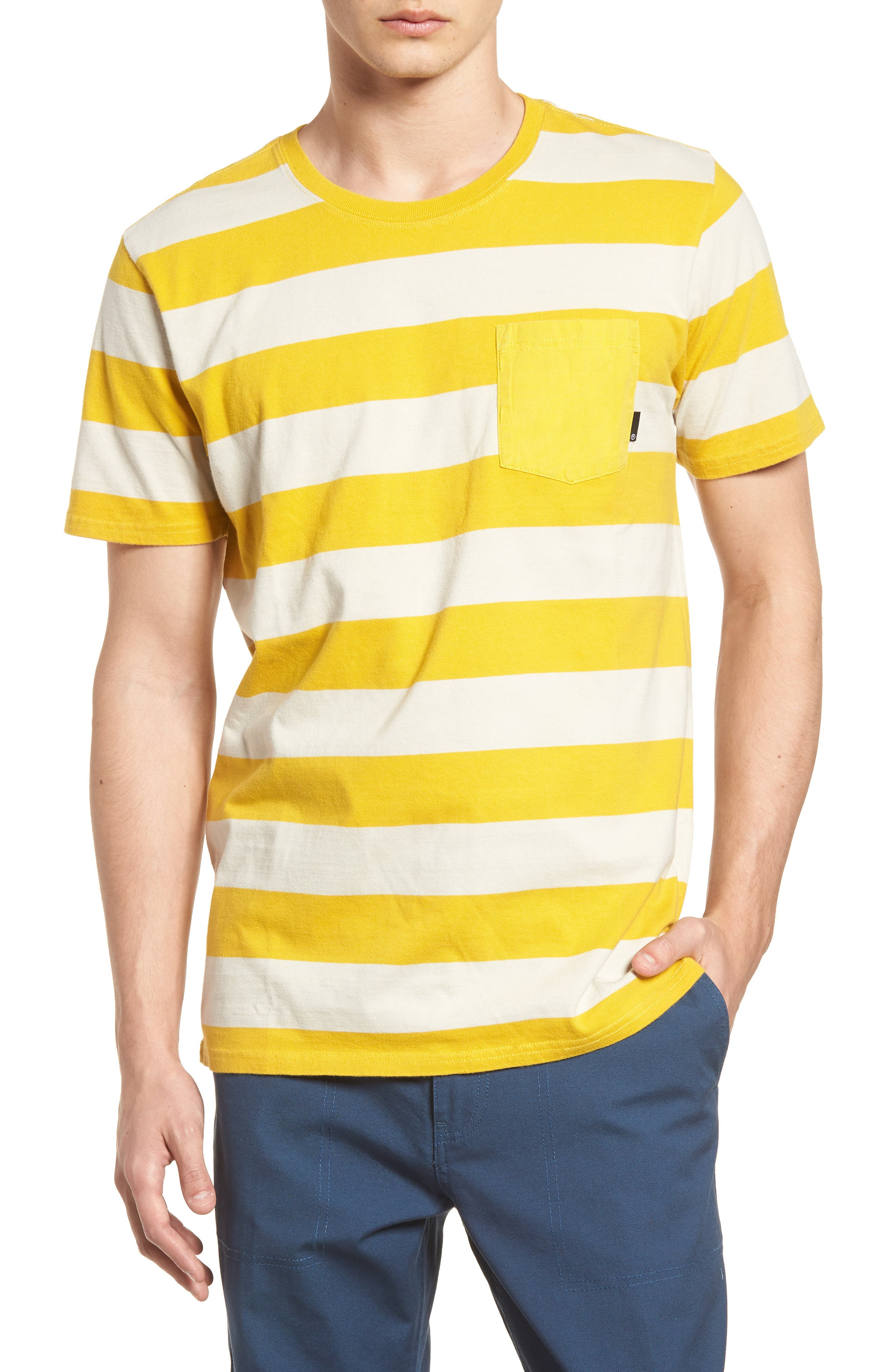 Broadcast Pocket T-Shirt,                         Main,                         color, Natural/Mustard Yellow Stripe