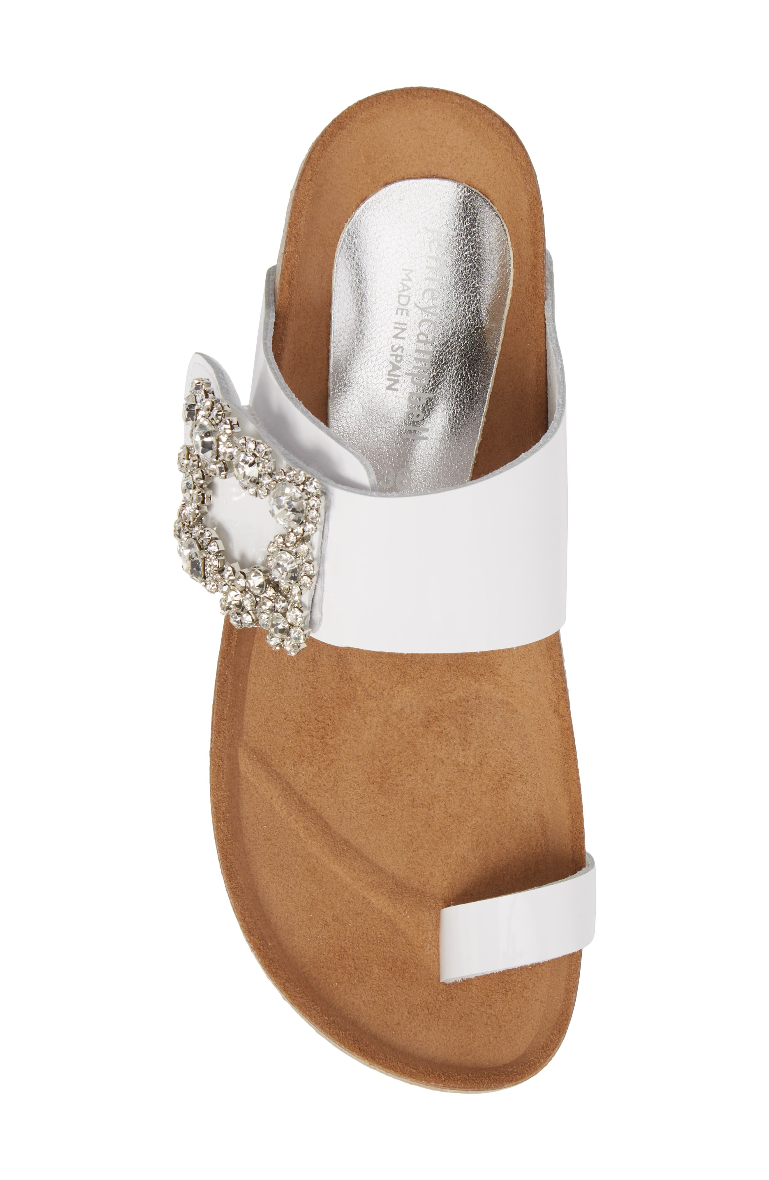 Bianca Embellished Slide Sandal,                             Alternate thumbnail 5, color,                             White Patent/ Silver