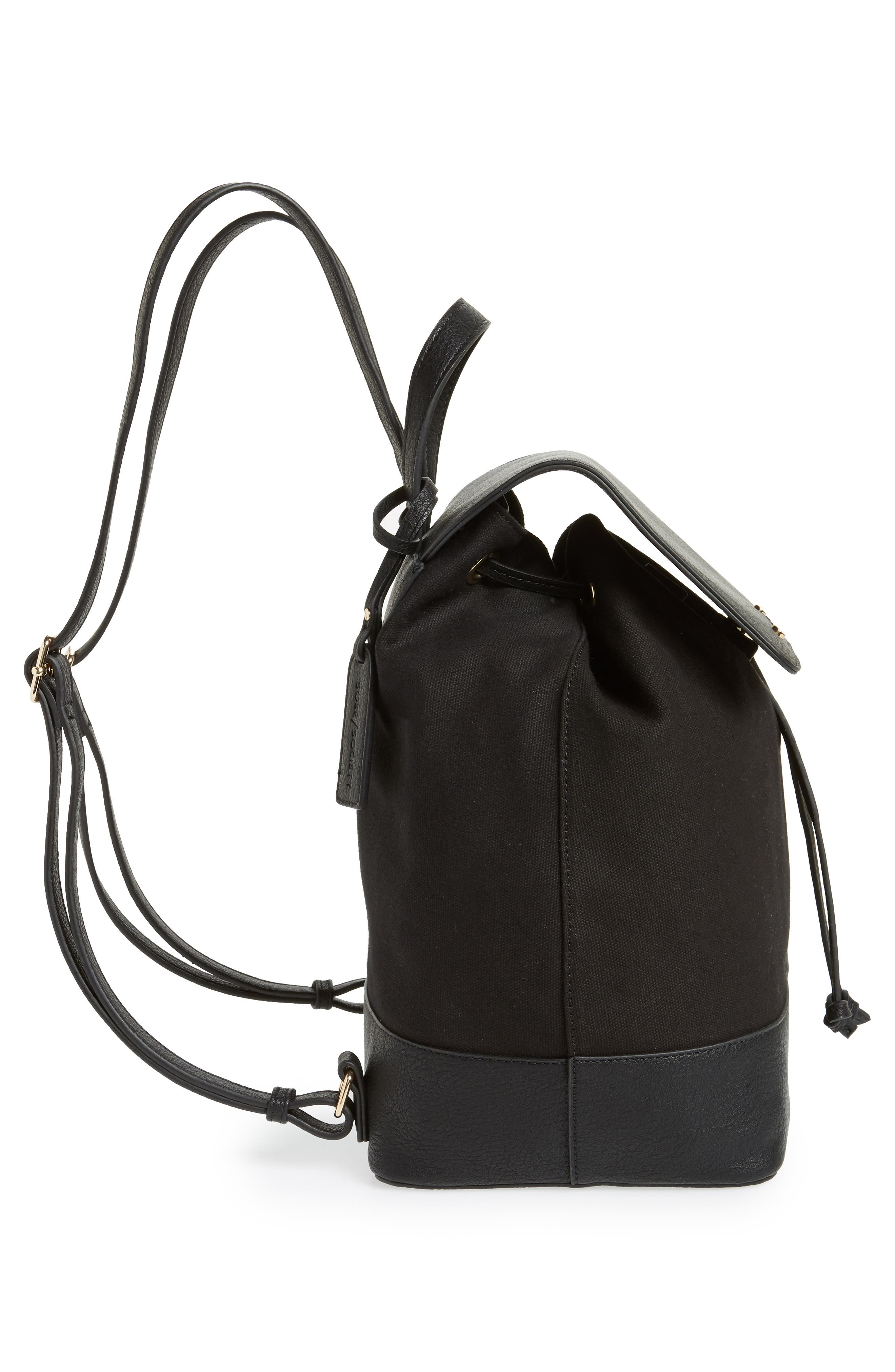 Canvas & Faux Leather Backpack,                             Alternate thumbnail 5, color,                             Black