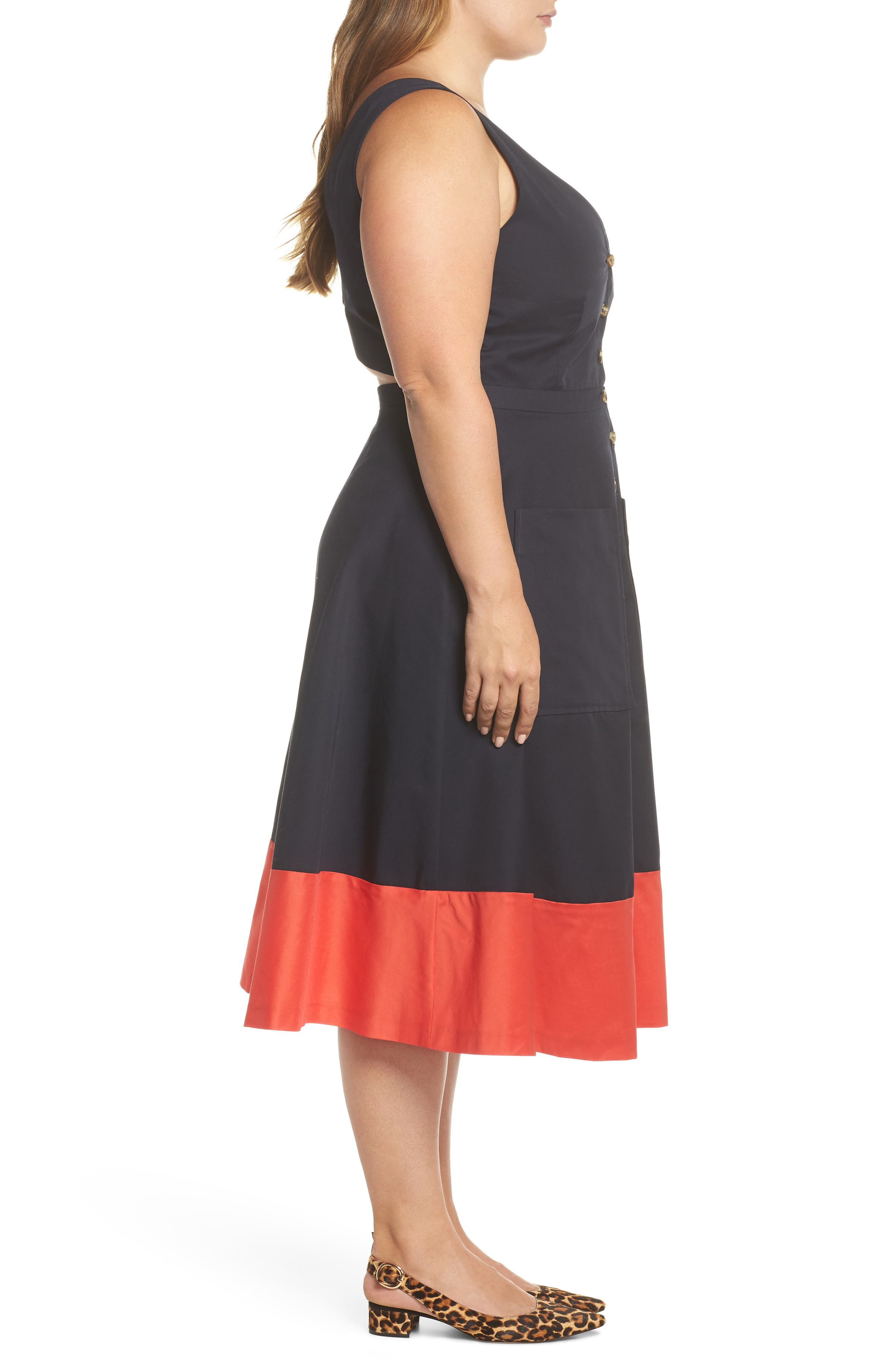 Colorblock Cotton Midi Dress,                             Alternate thumbnail 3, color,                             Navy Red Color Block