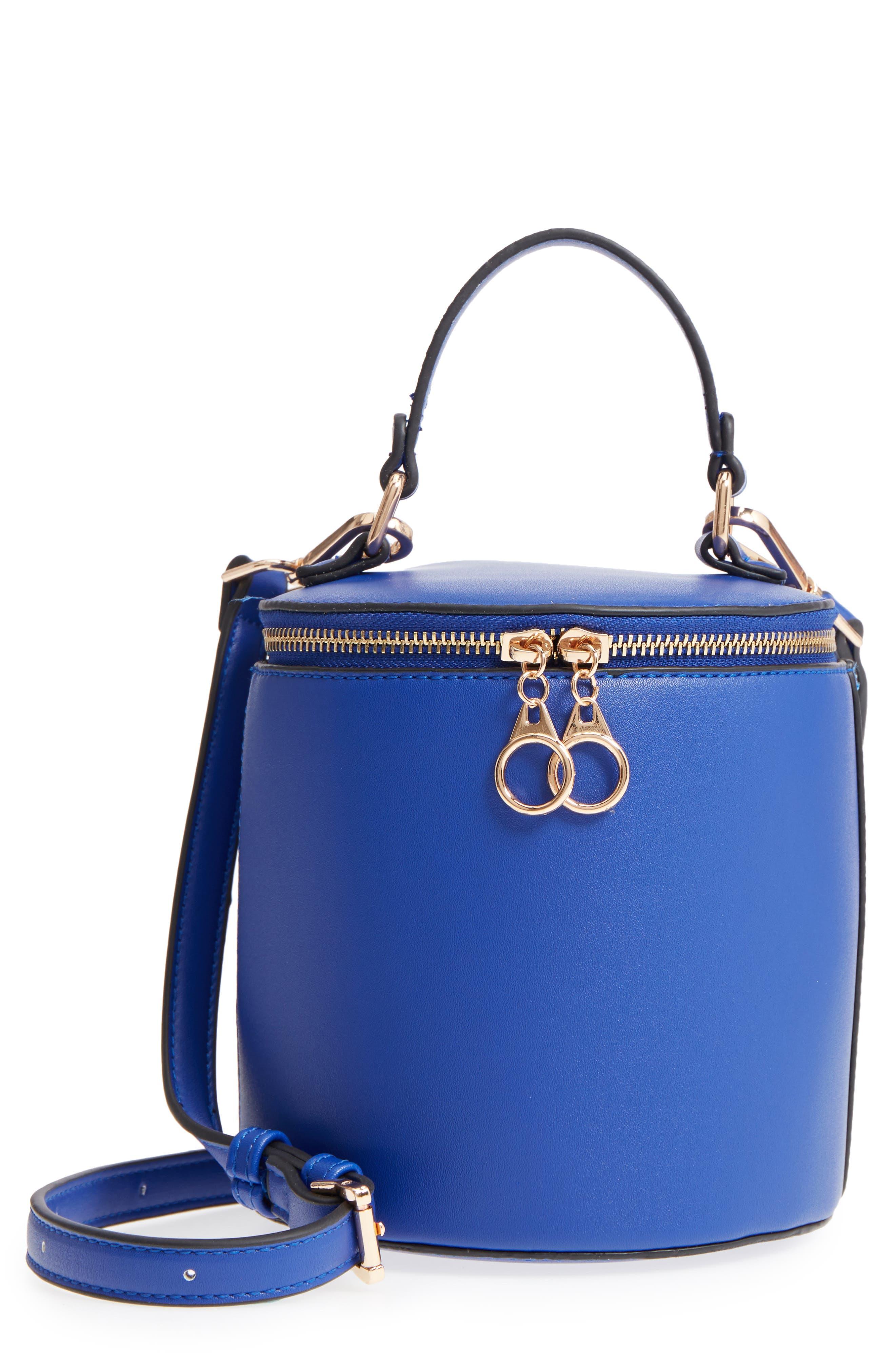 Top Handle Cylinder Bag,                         Main,                         color, Cobalt