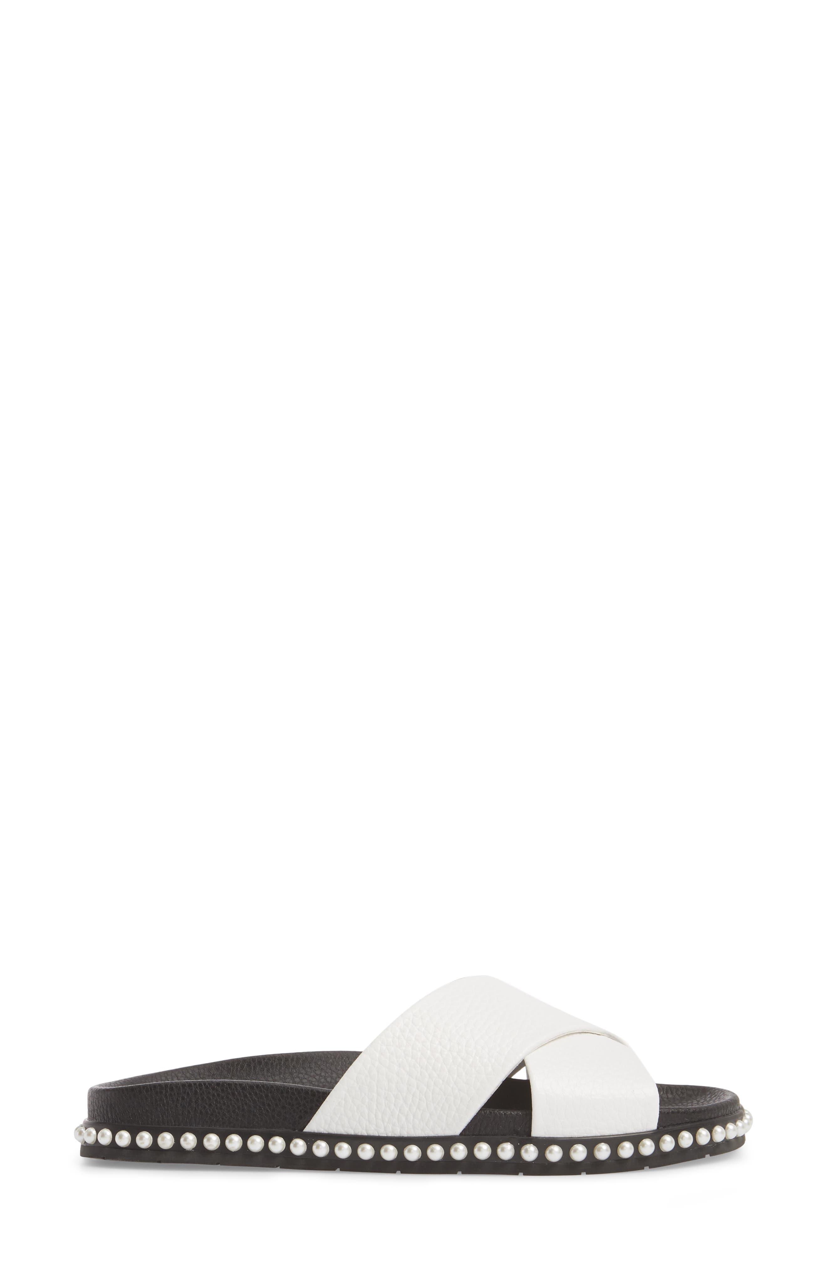 Xiomana Slide Sandal,                             Alternate thumbnail 3, color,                             White Leather