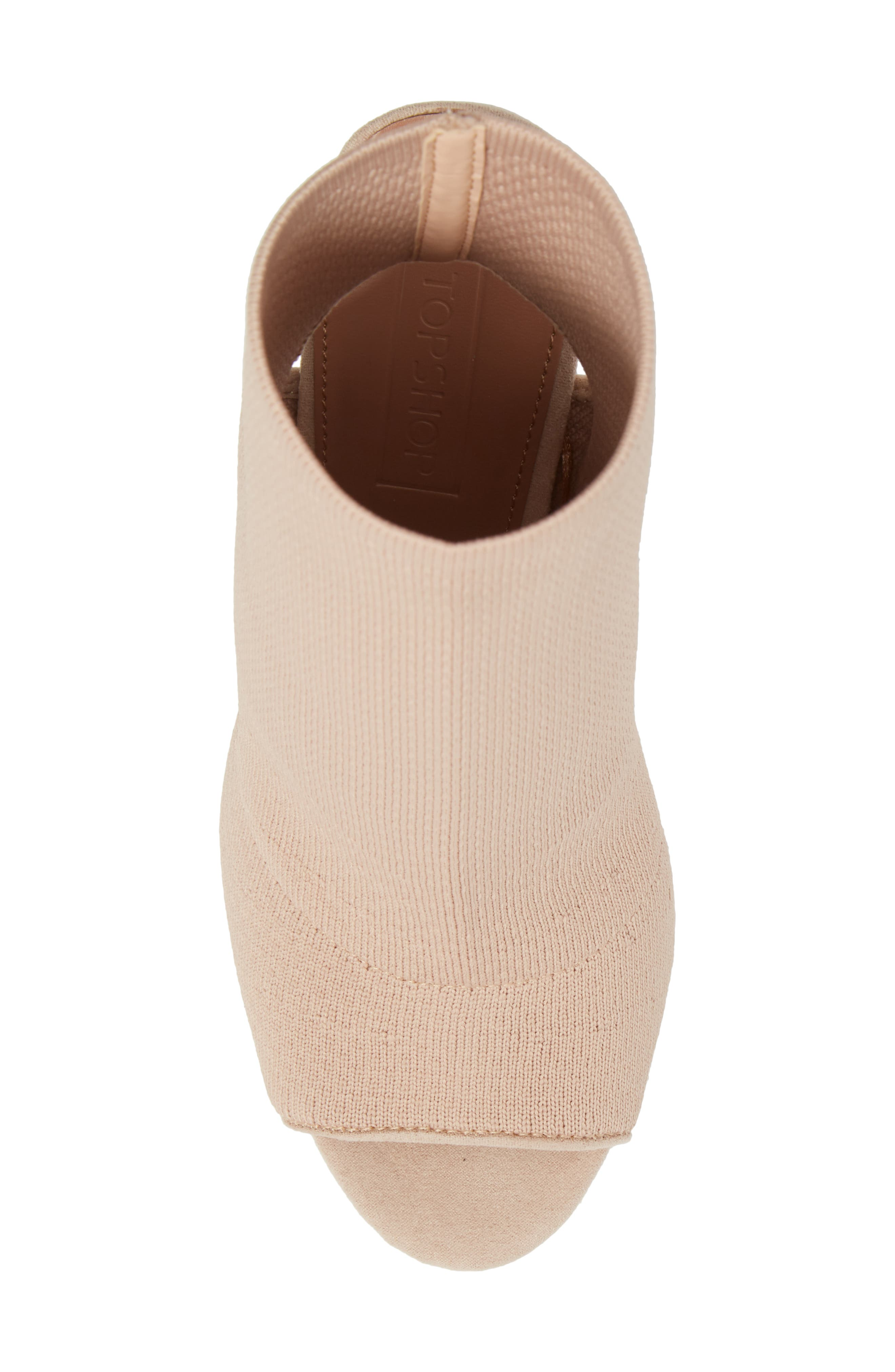 Sister Block Heel Sock Bootie,                             Alternate thumbnail 5, color,                             Nude
