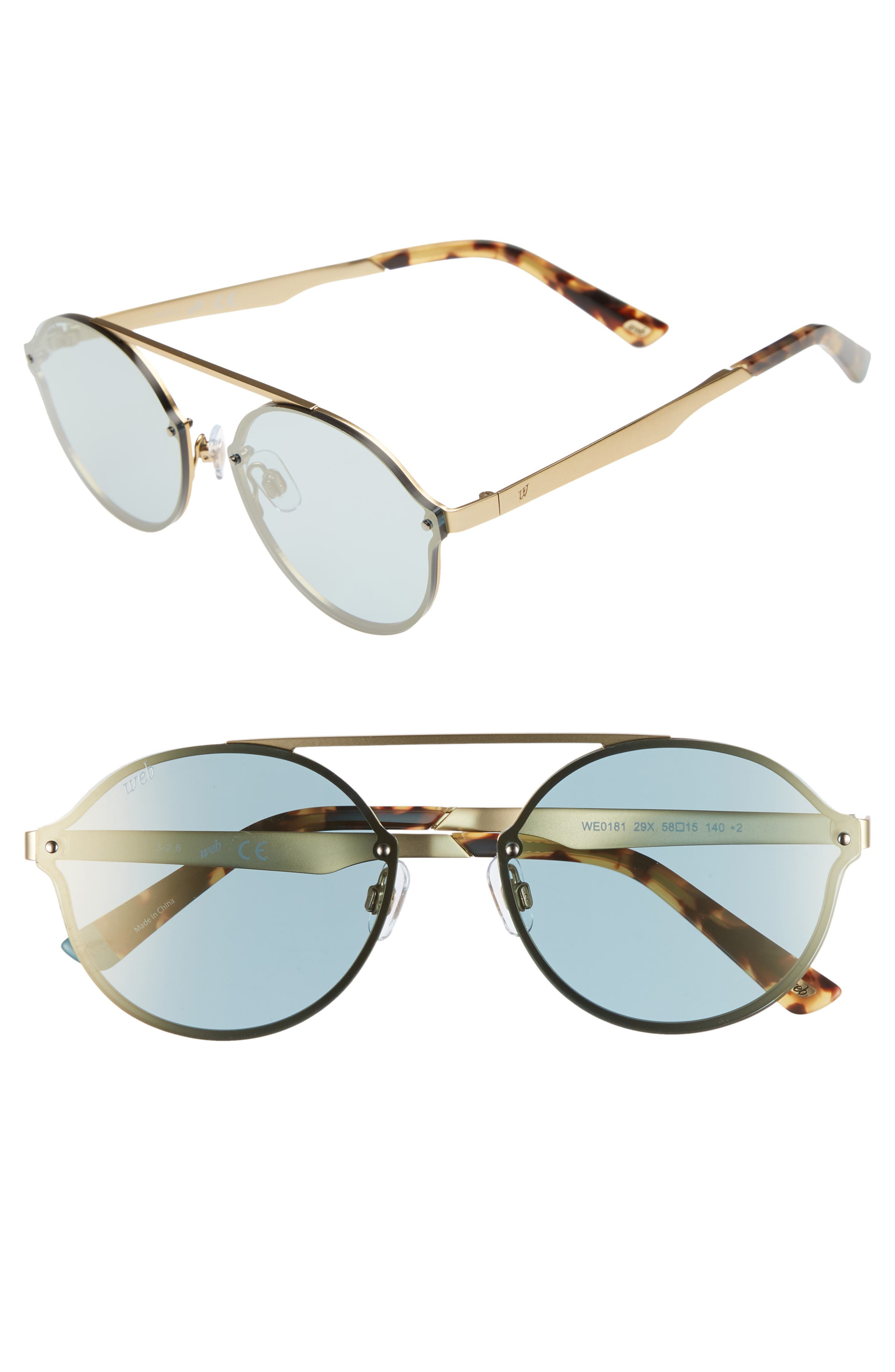 58mm Round Sunglasses,                             Main thumbnail 1, color,                             Gold/ Blue
