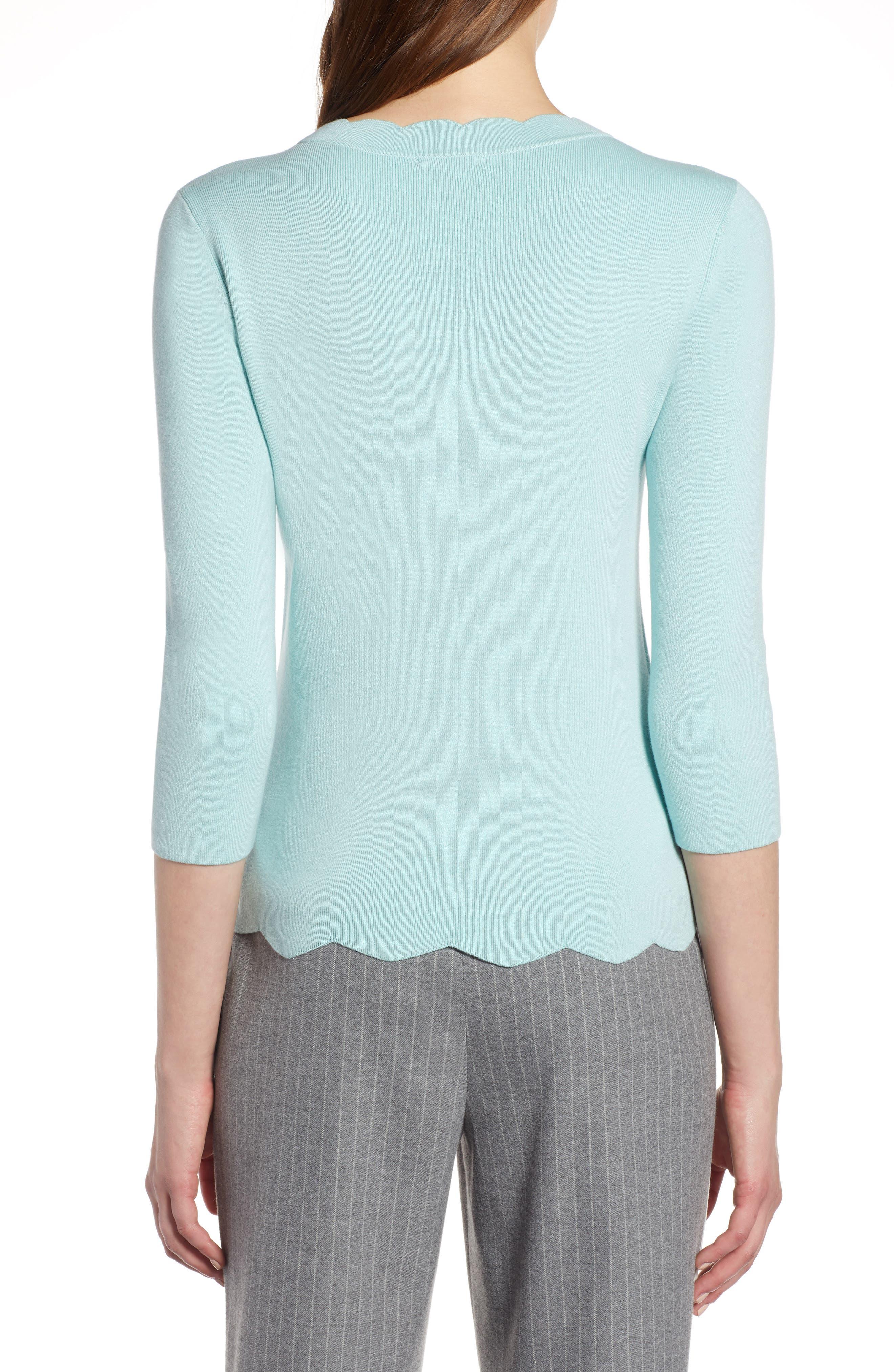 Halogen Scallop Edge Sweater,                             Alternate thumbnail 2, color,                             Blue Resort