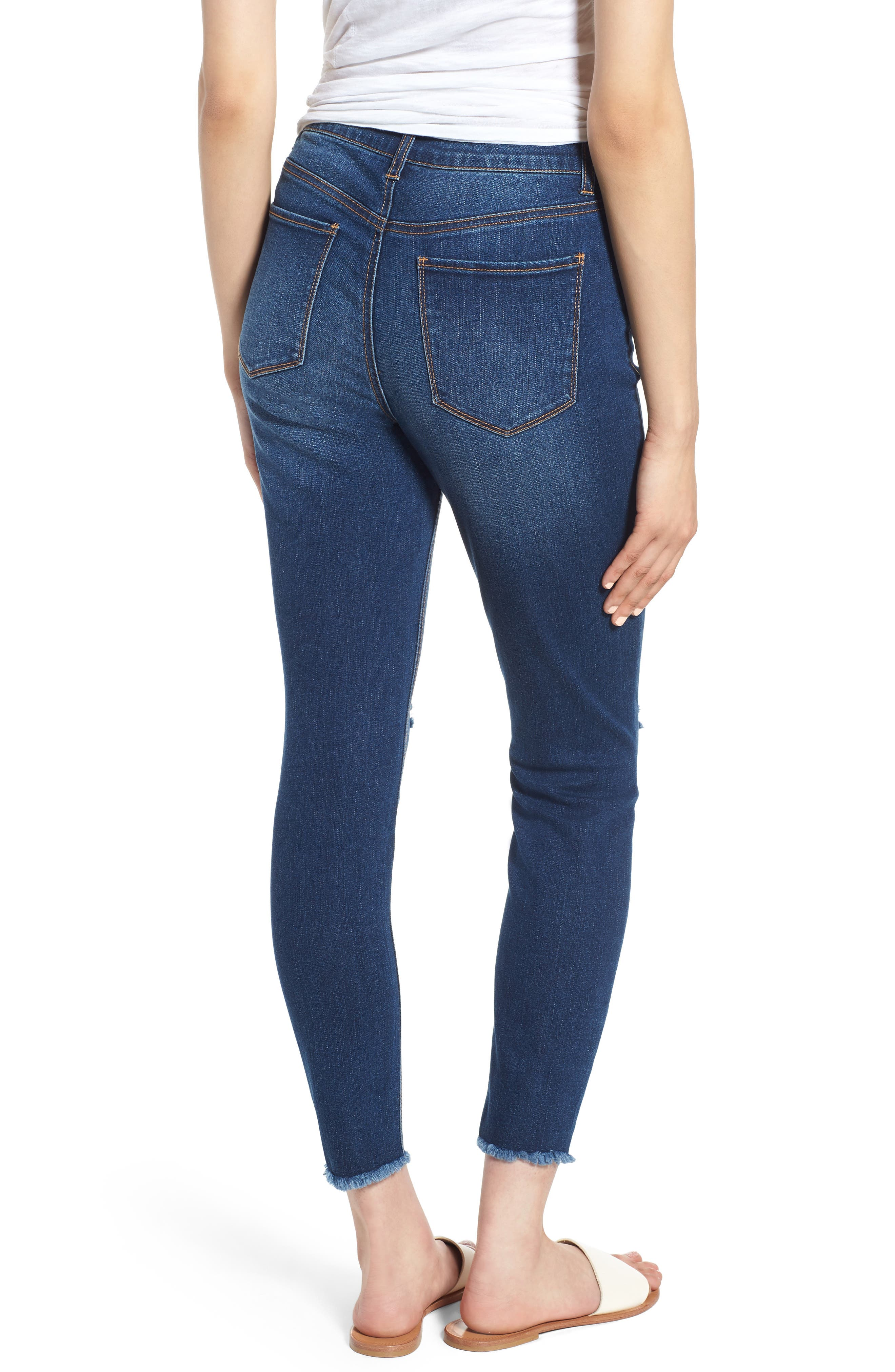 Ripped High Waist Ankle Skinny Jeans,                             Alternate thumbnail 2, color,                             Dark Wash