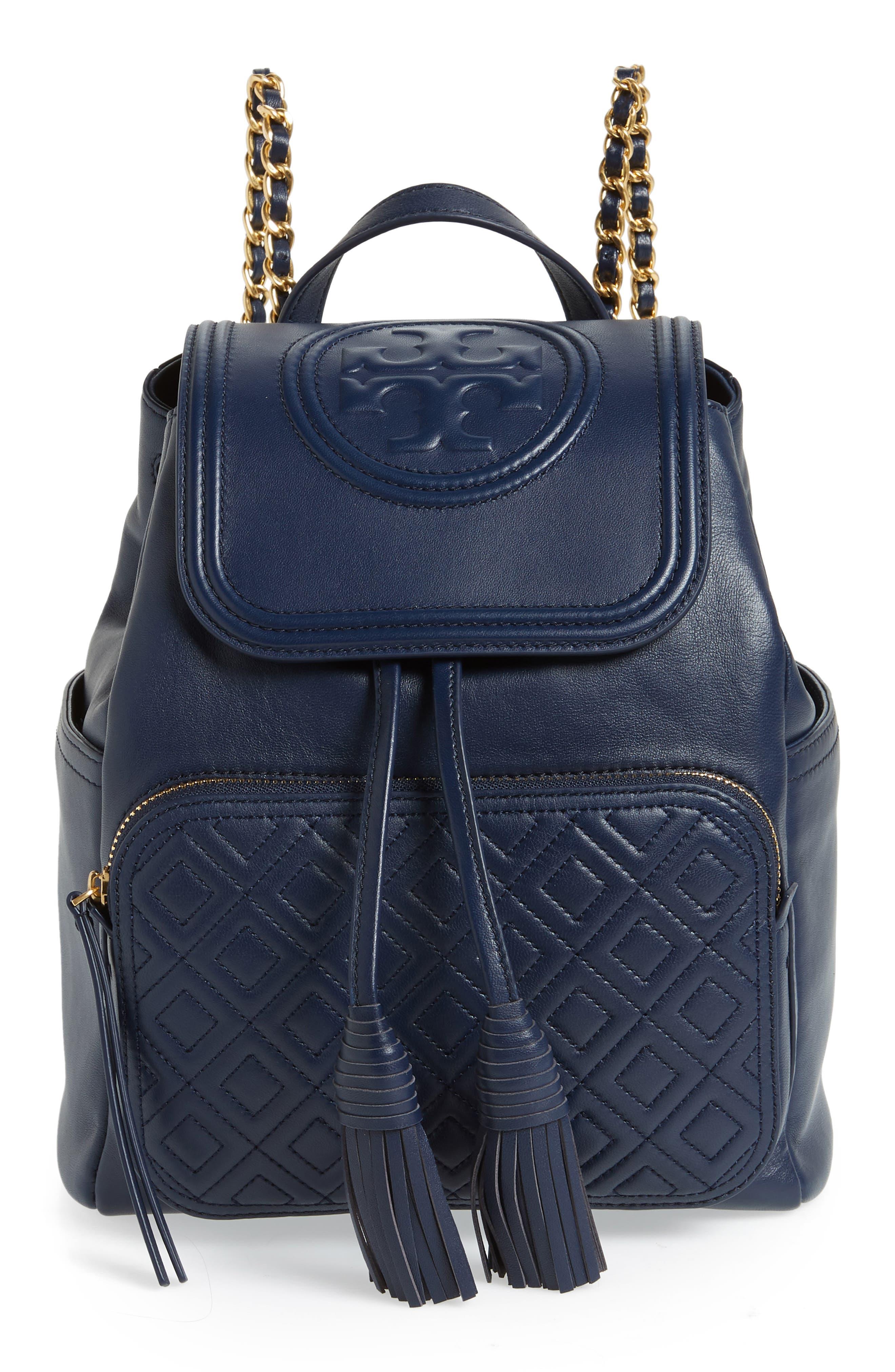Fleming Lambskin Leather Backpack,                             Main thumbnail 1, color,                             Royal Navy