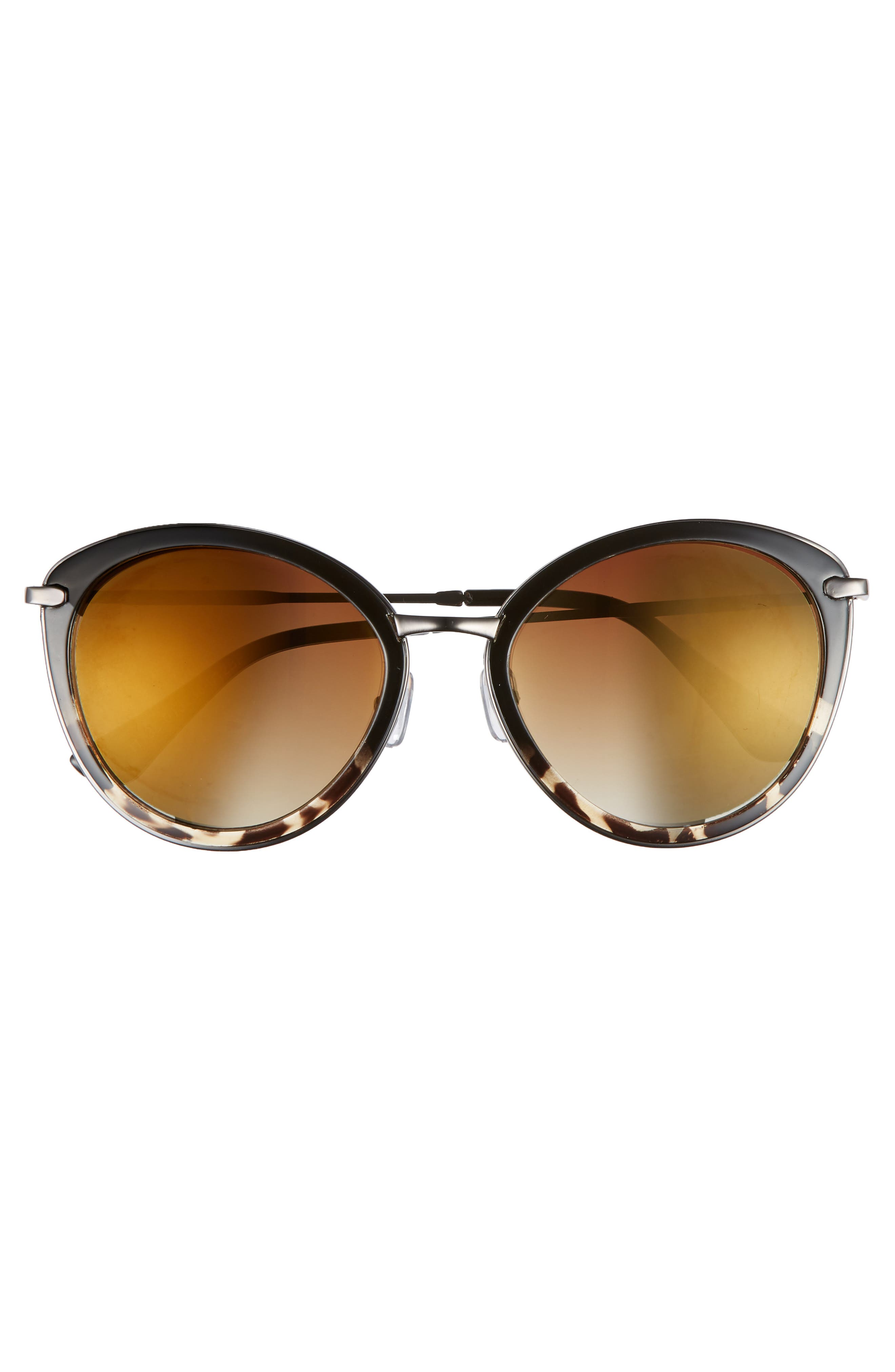54mm Round Sunglasses,                             Alternate thumbnail 3, color,                             Black/ Tort
