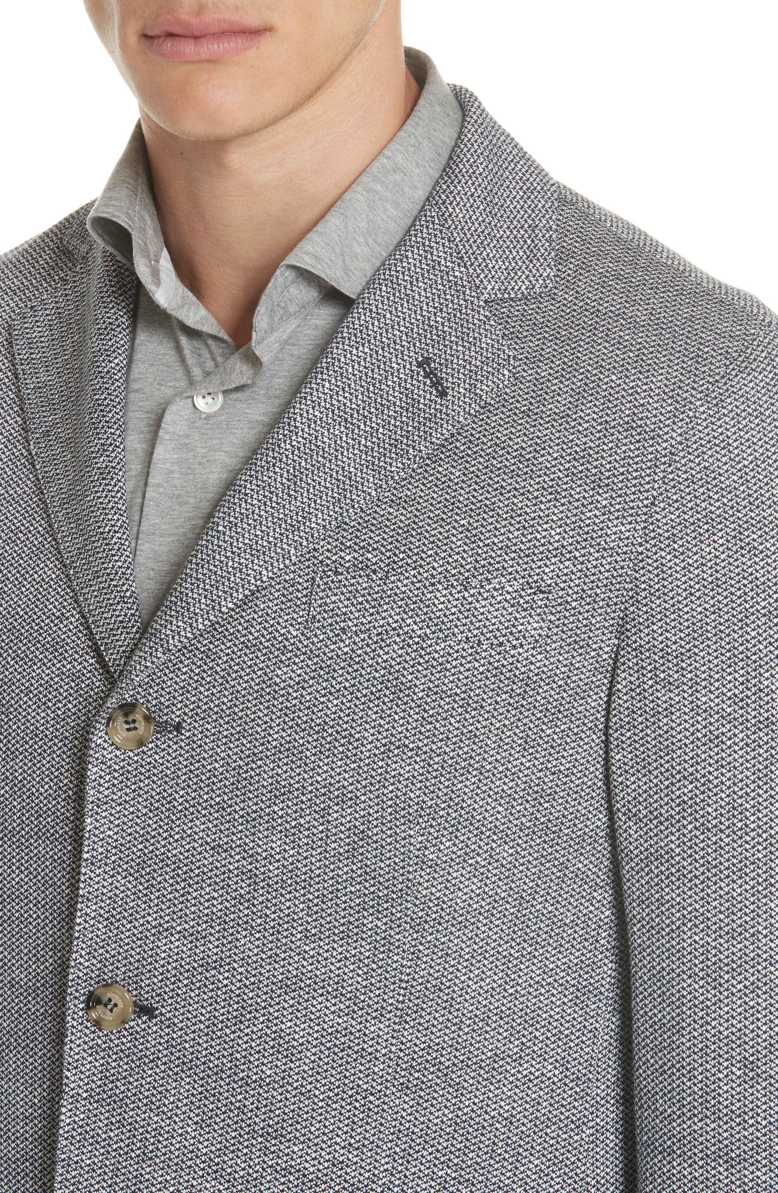 Trim Fit Linen & Cotton Blazer,                             Alternate thumbnail 4, color,                             Navy