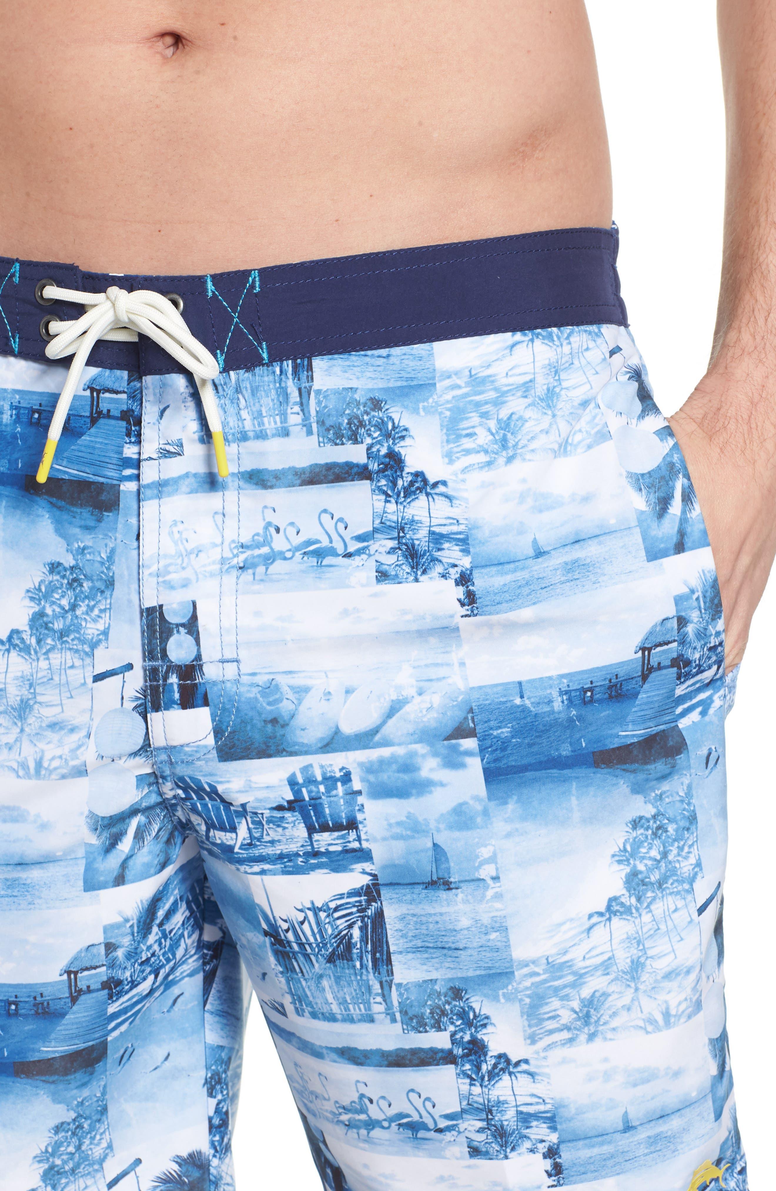 Baja Coast Busters Swim Trunks,                             Alternate thumbnail 4, color,                             Dockside Blue