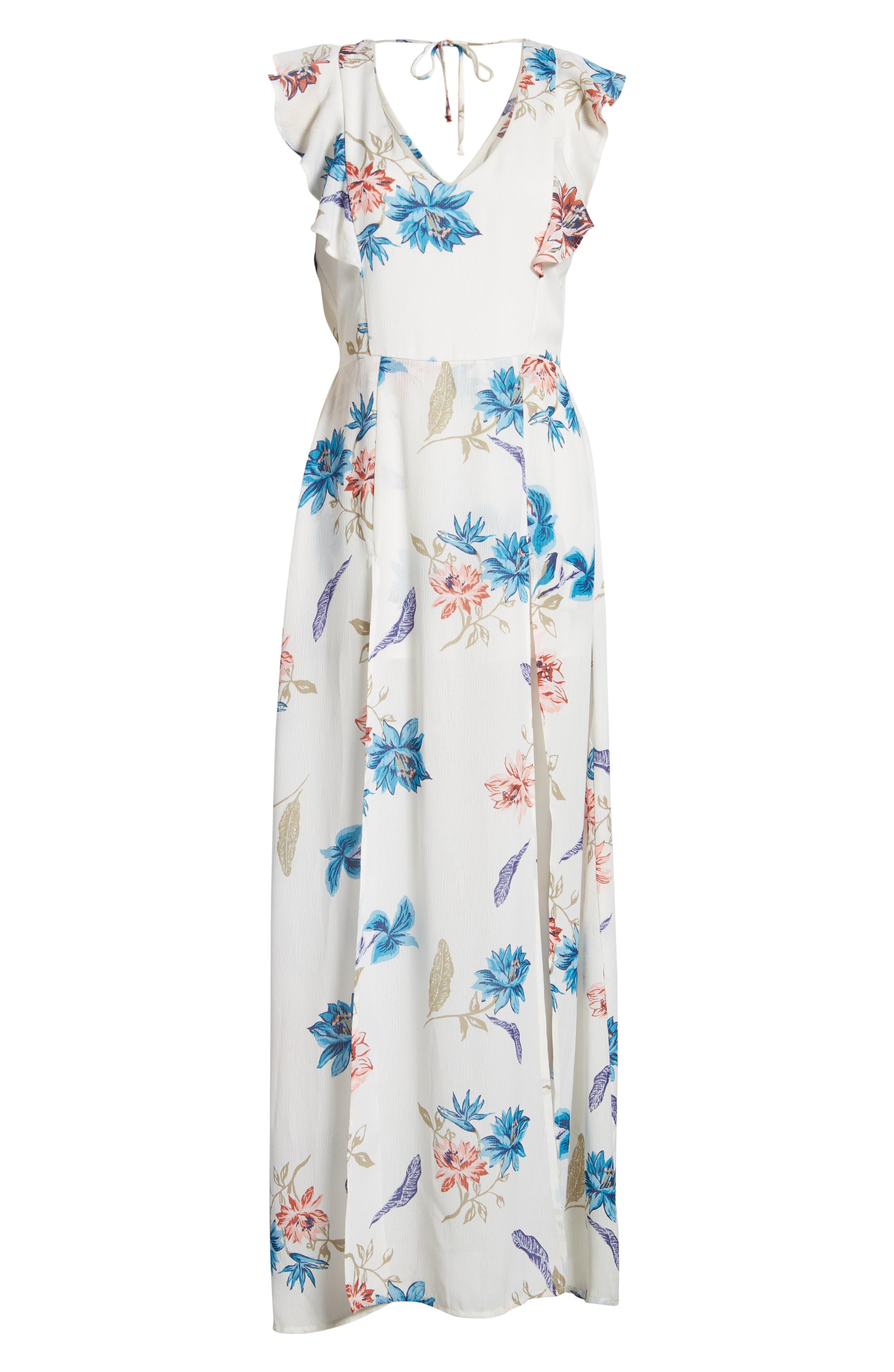 Floral Maxi Dress,                             Alternate thumbnail 6, color,                             White
