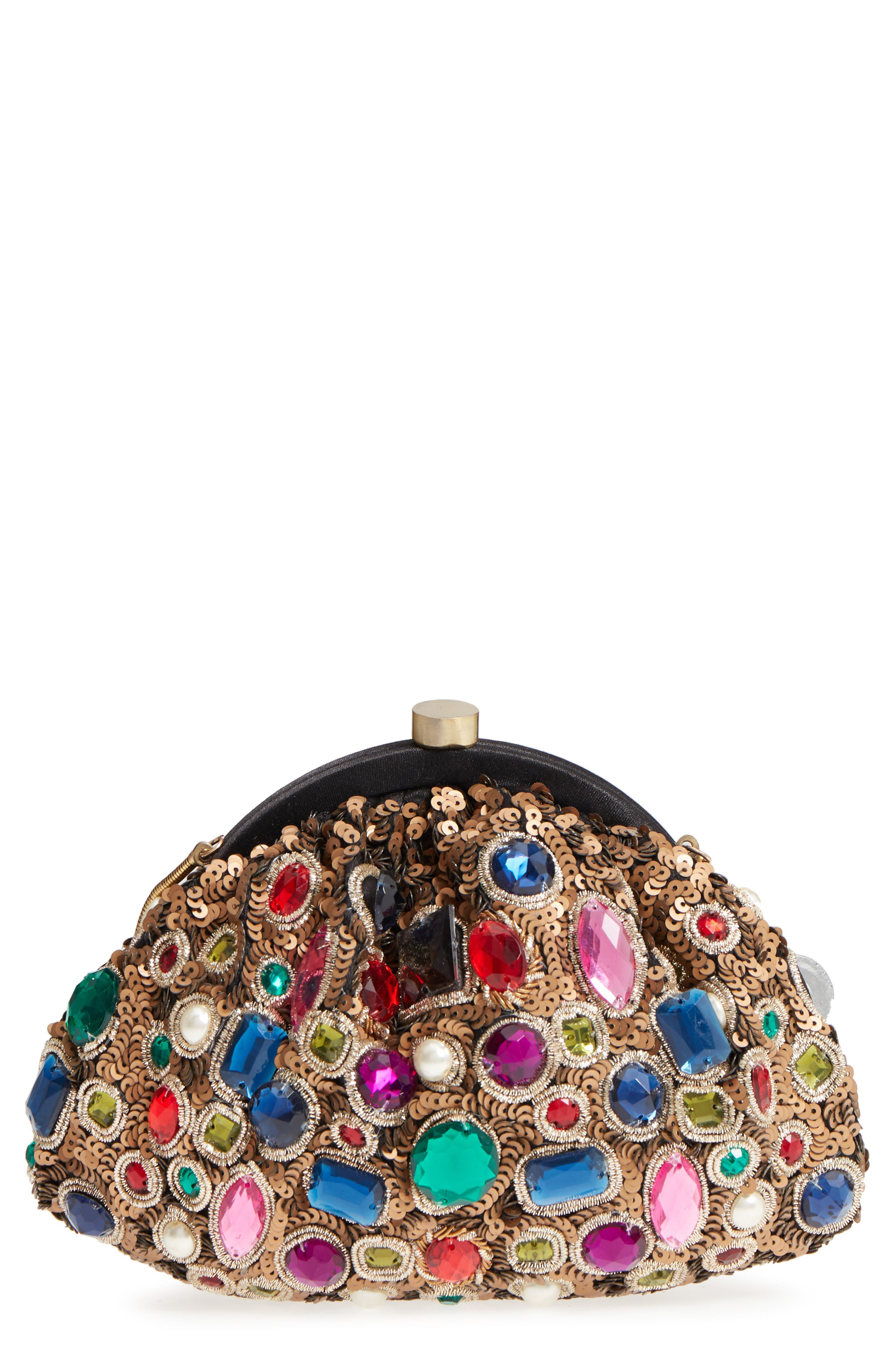 Jewel Frame Pouch,                             Main thumbnail 1, color,                             Gold Multi