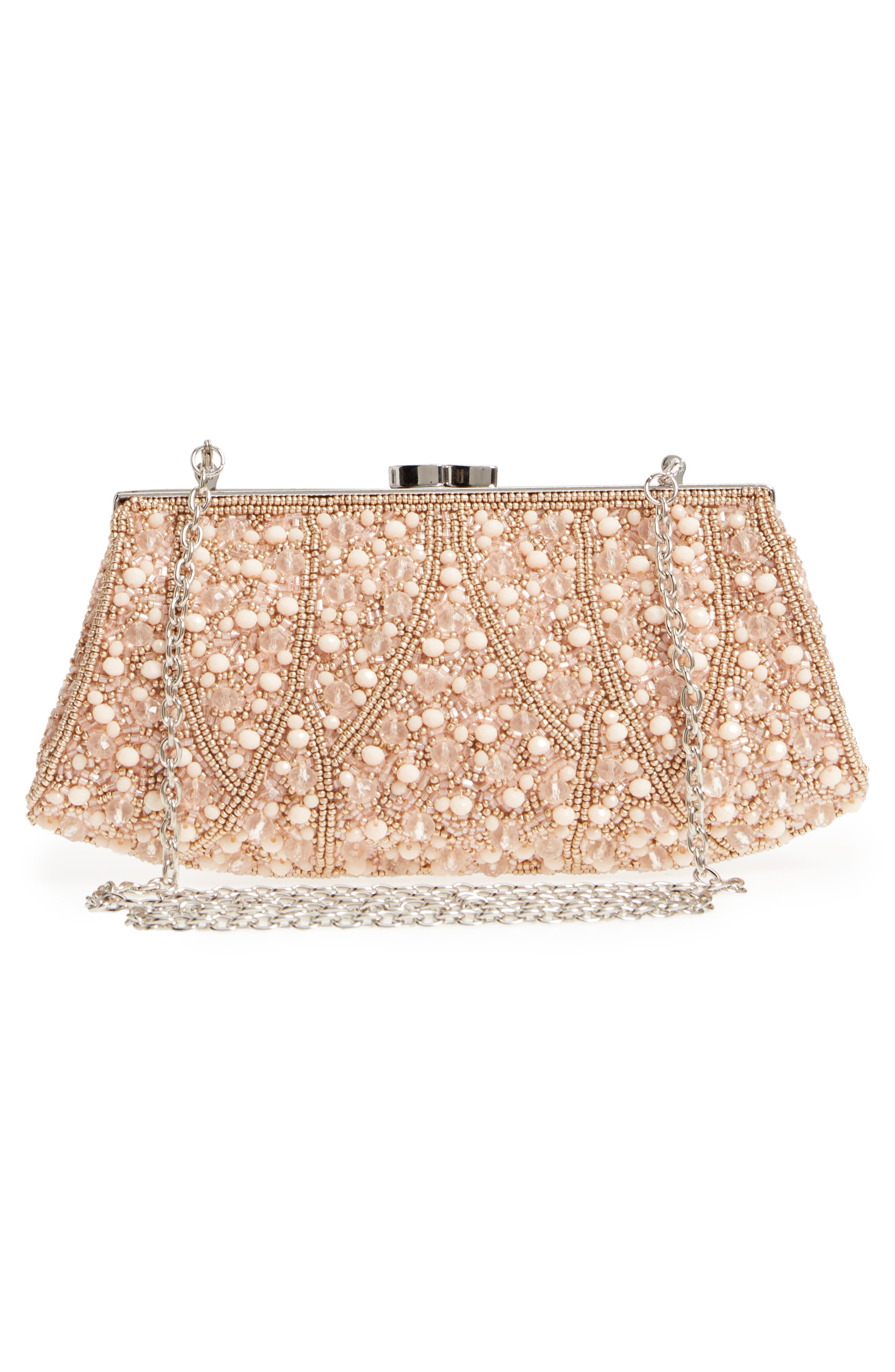 Beaded Rivoli Clutch,                             Alternate thumbnail 3, color,                             Blush