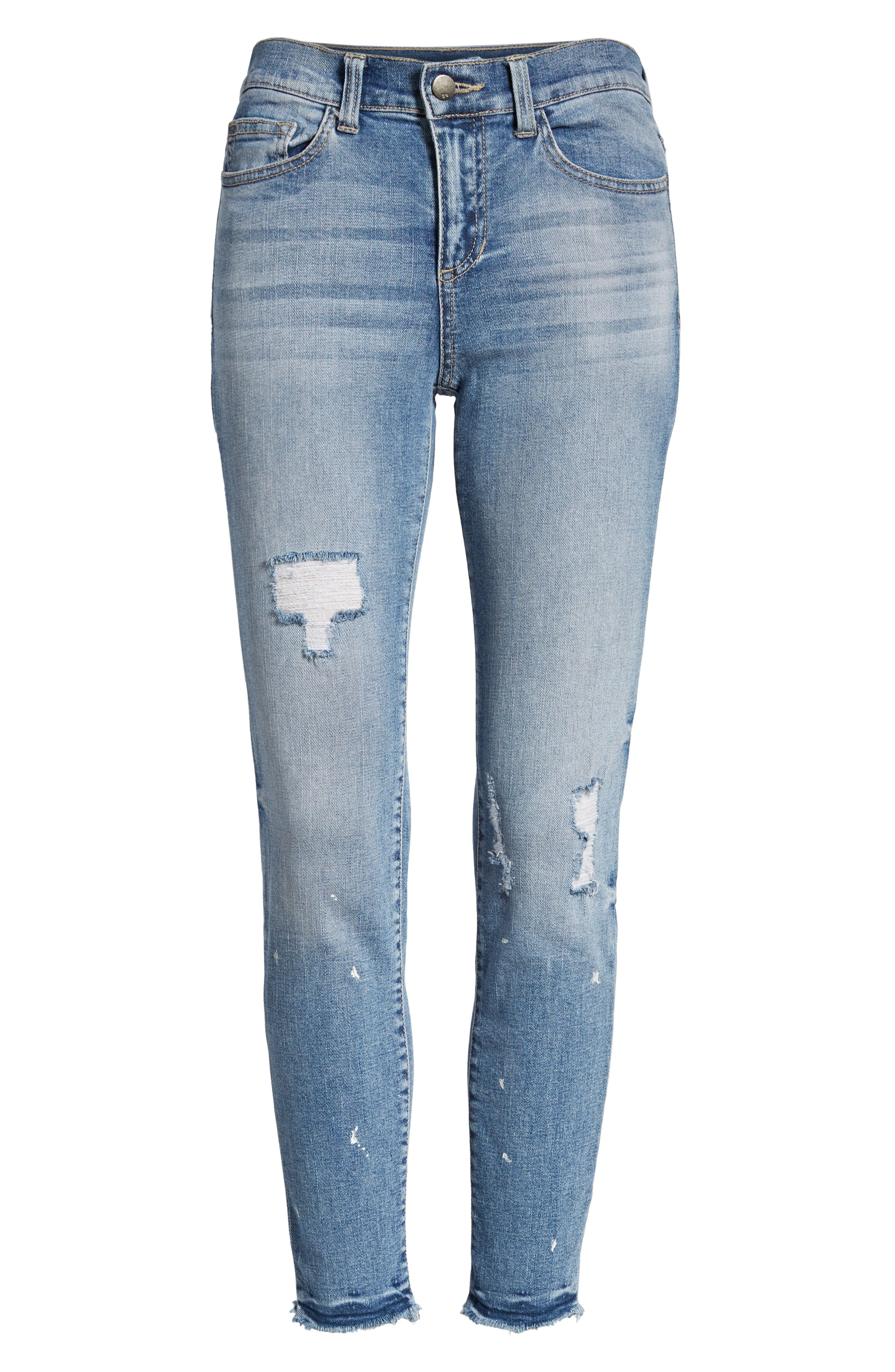 Ripped Skinny Jeans,                             Alternate thumbnail 6, color,                             Light Wash