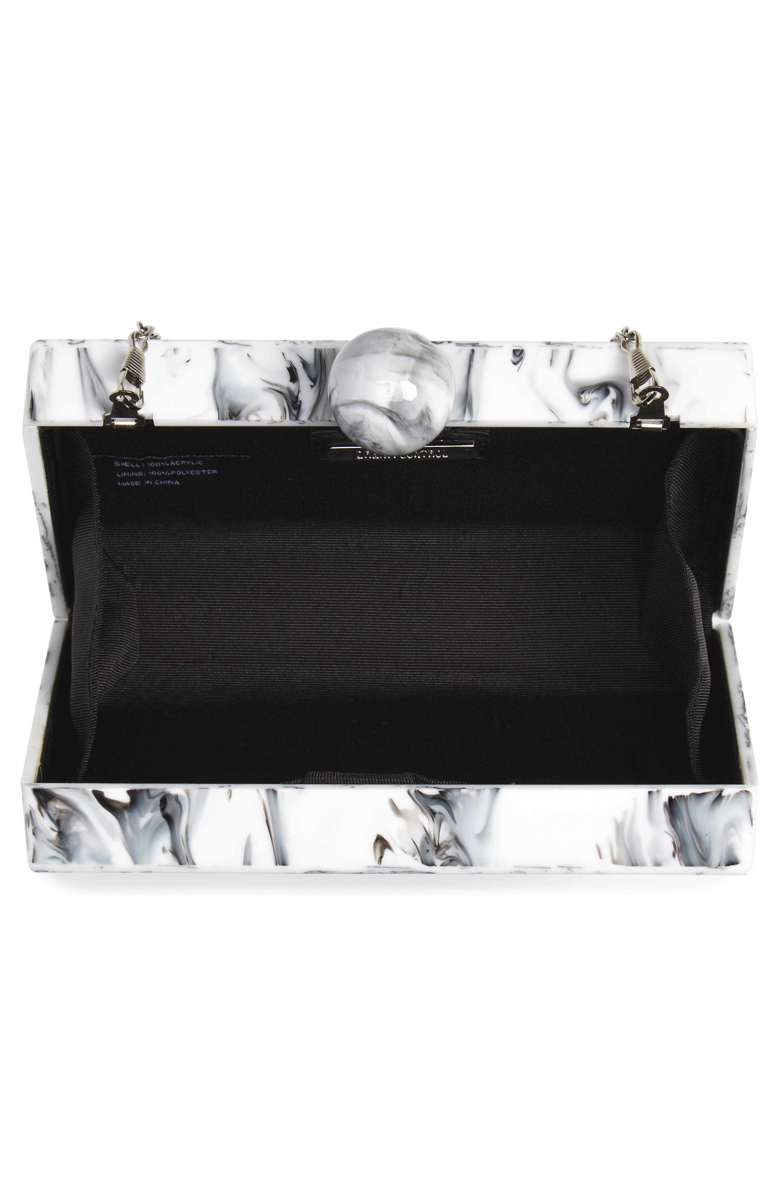 Valyn Marbled Box Clutch,                             Alternate thumbnail 4, color,                             White Marble