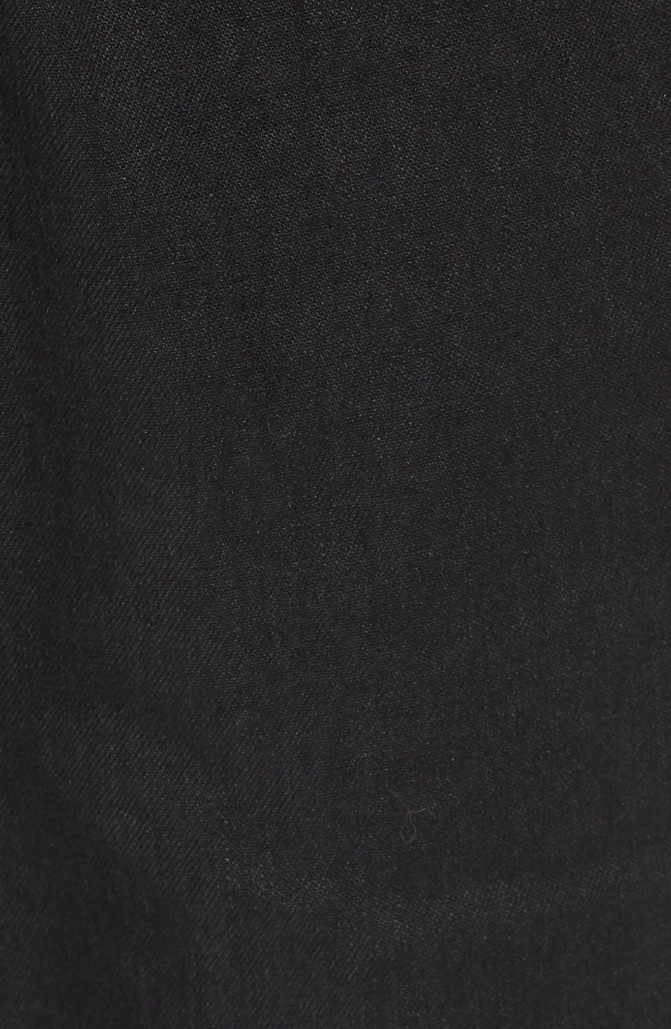 Stretch Linen & Cotton Cargo Pants,                             Alternate thumbnail 5, color,                             Black