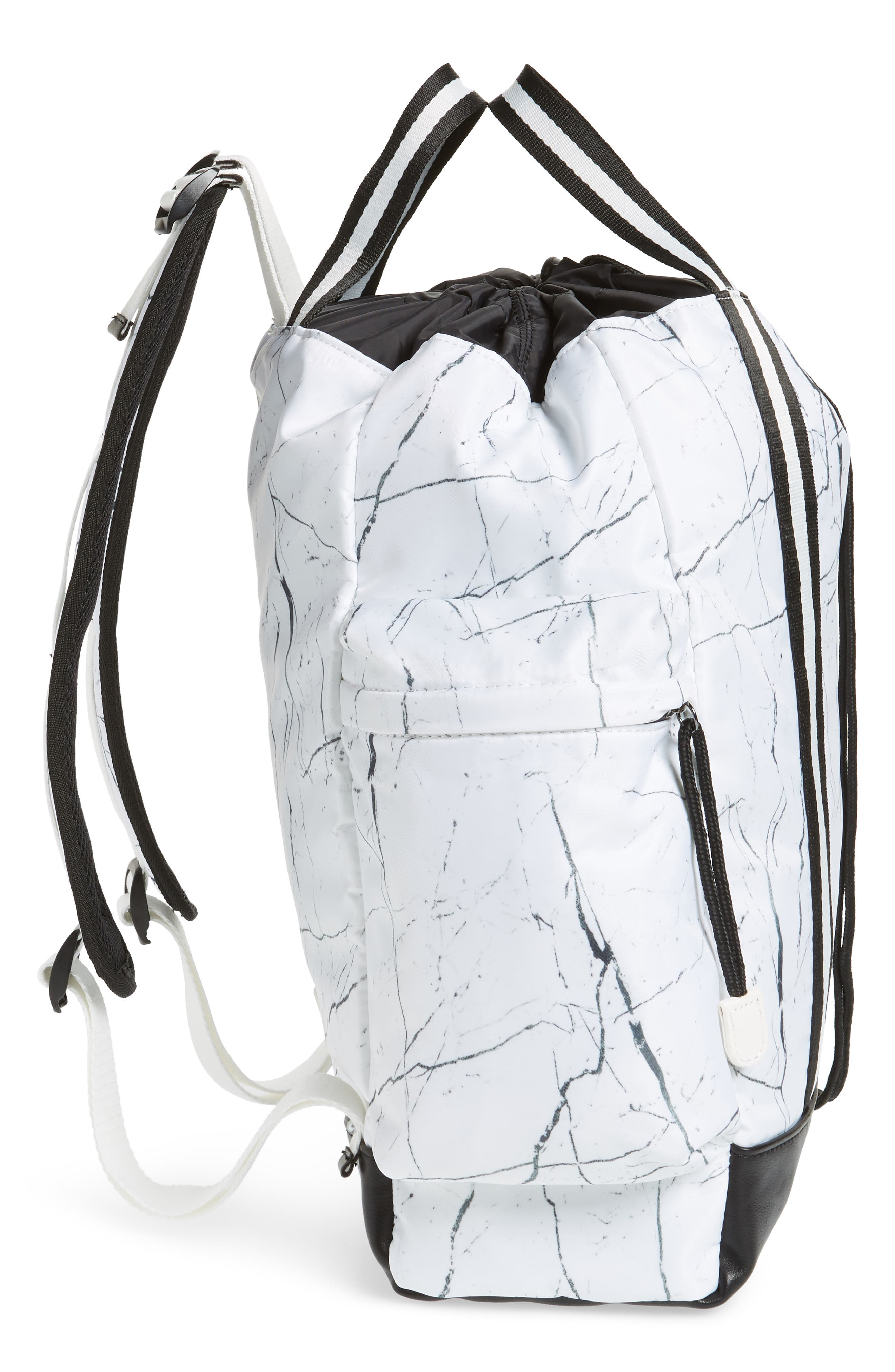 Theo Marble Print Backpack,                             Alternate thumbnail 5, color,                             White Marble