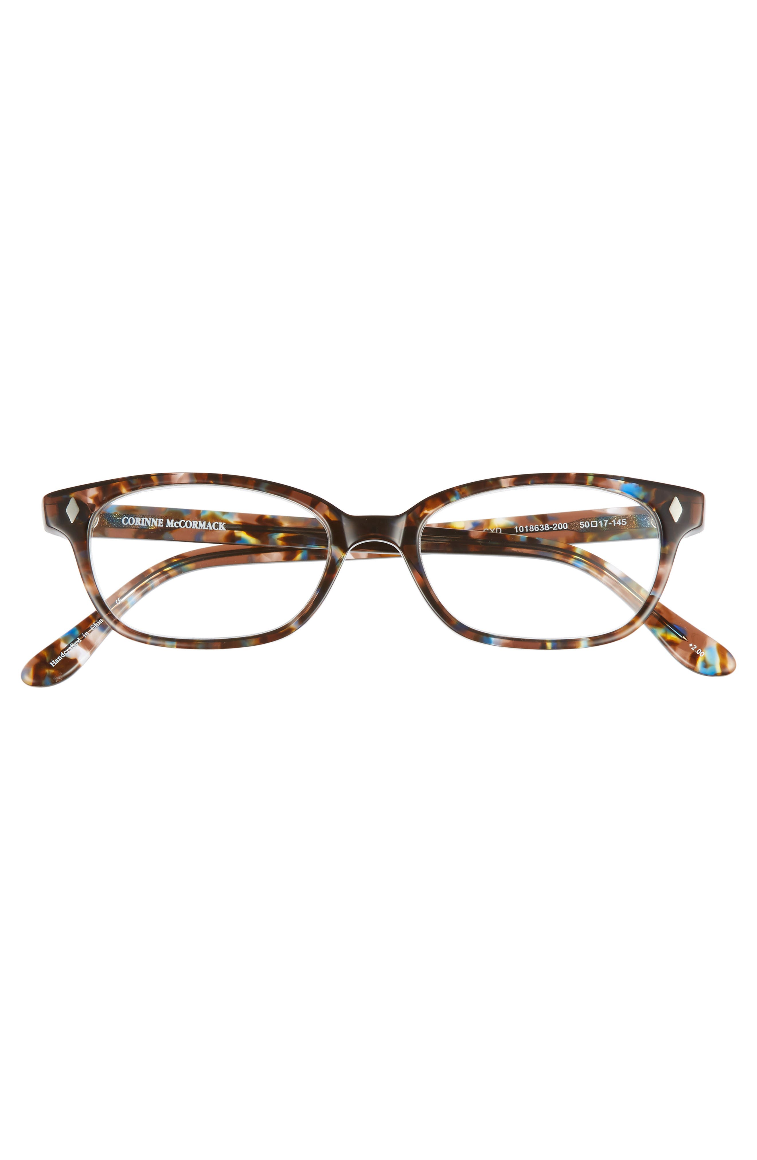 'Cyd' 50mm Reading Glasses,                             Alternate thumbnail 3, color,                             Transparent Brown Marble