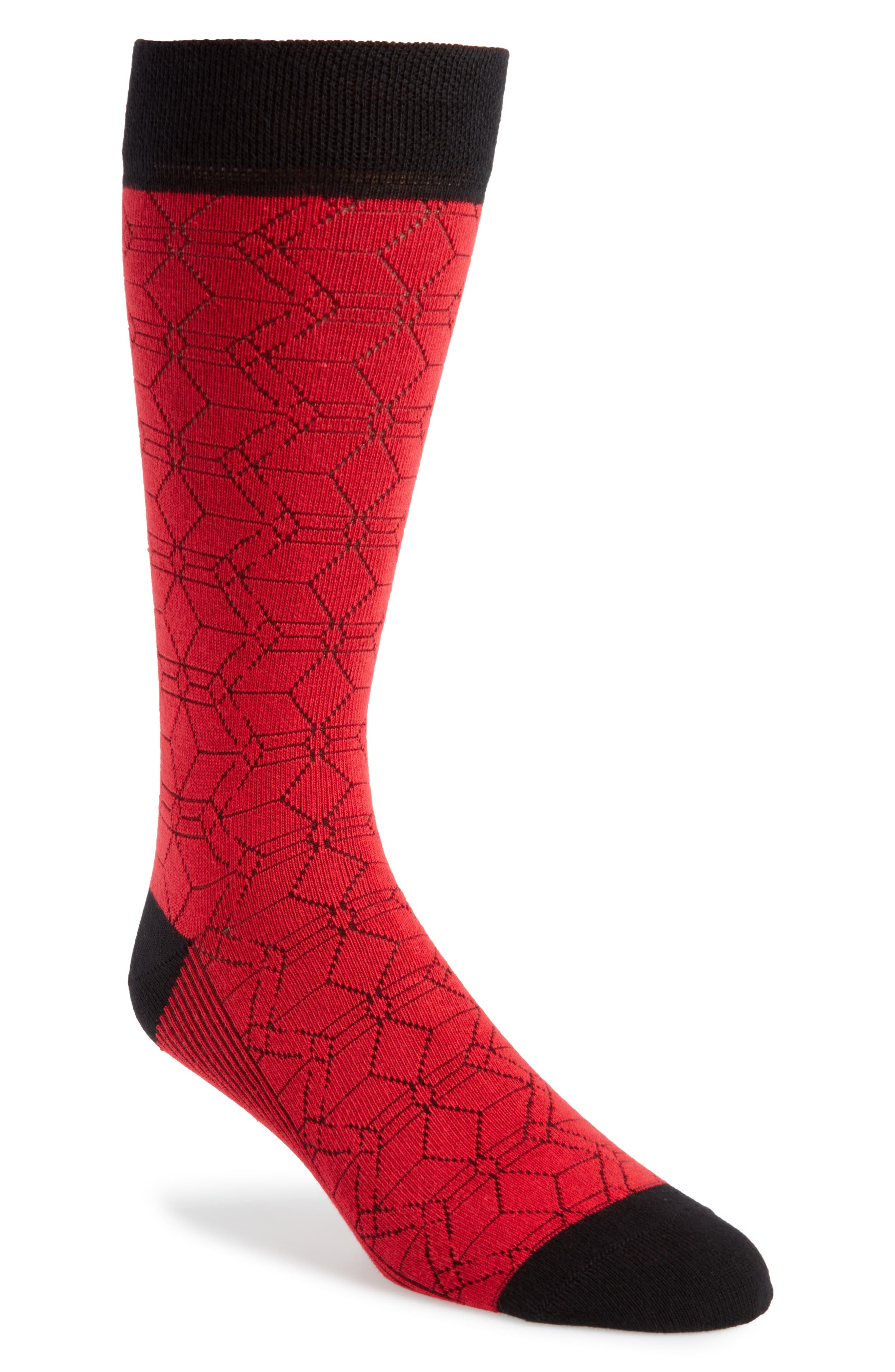Geo Socks,                         Main,                         color, Red