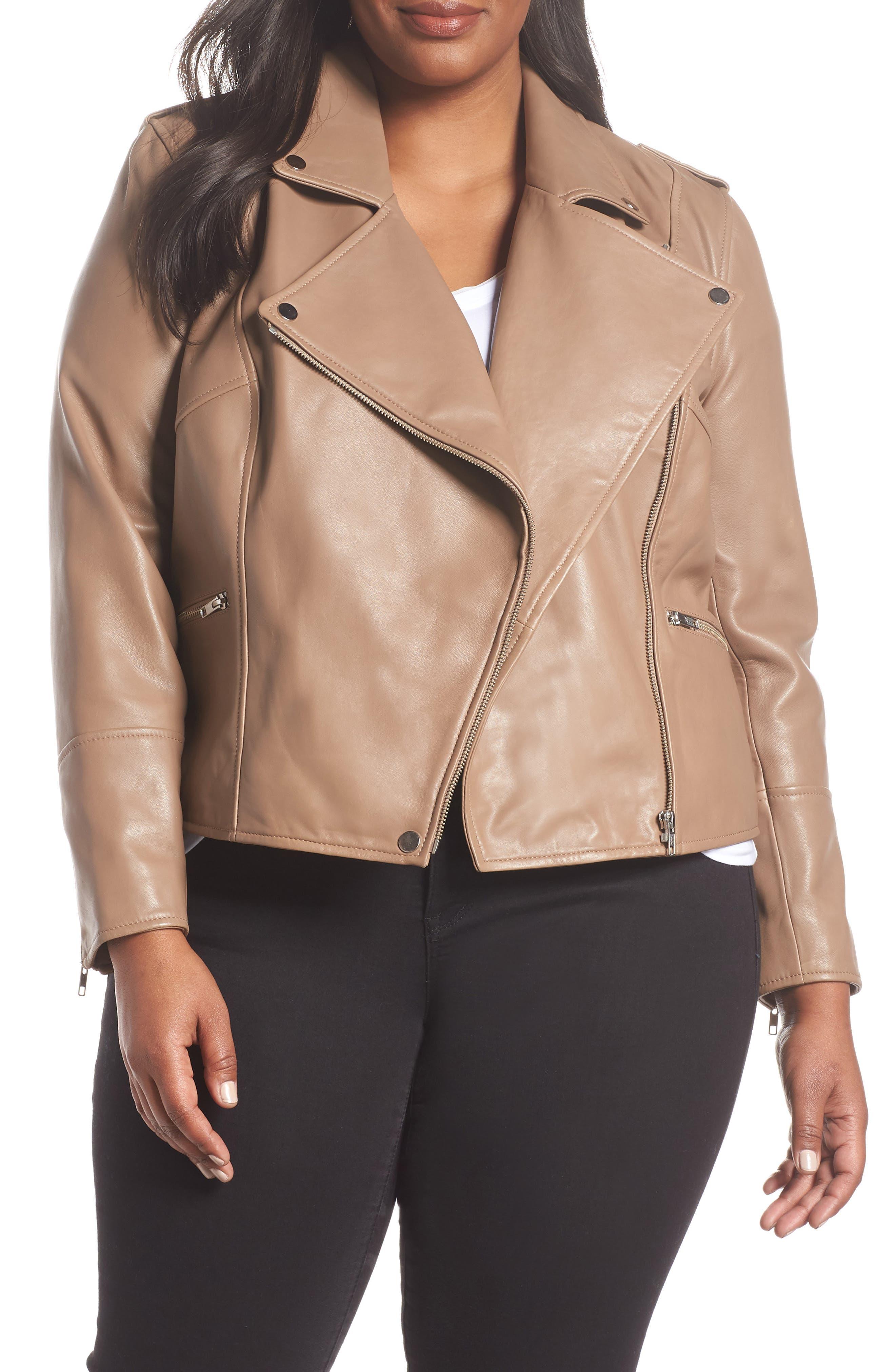 Leather Moto Jacket,                         Main,                         color, Brown Bark