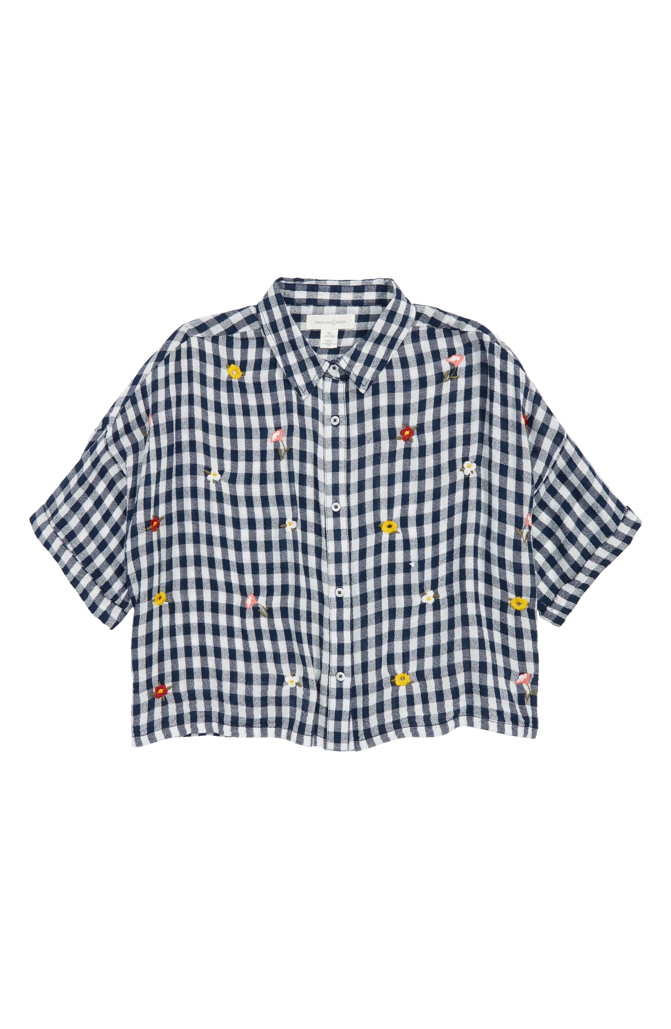 Gingham Embroidered Shirt,                         Main,                         color, Navy Armada- White Gingham