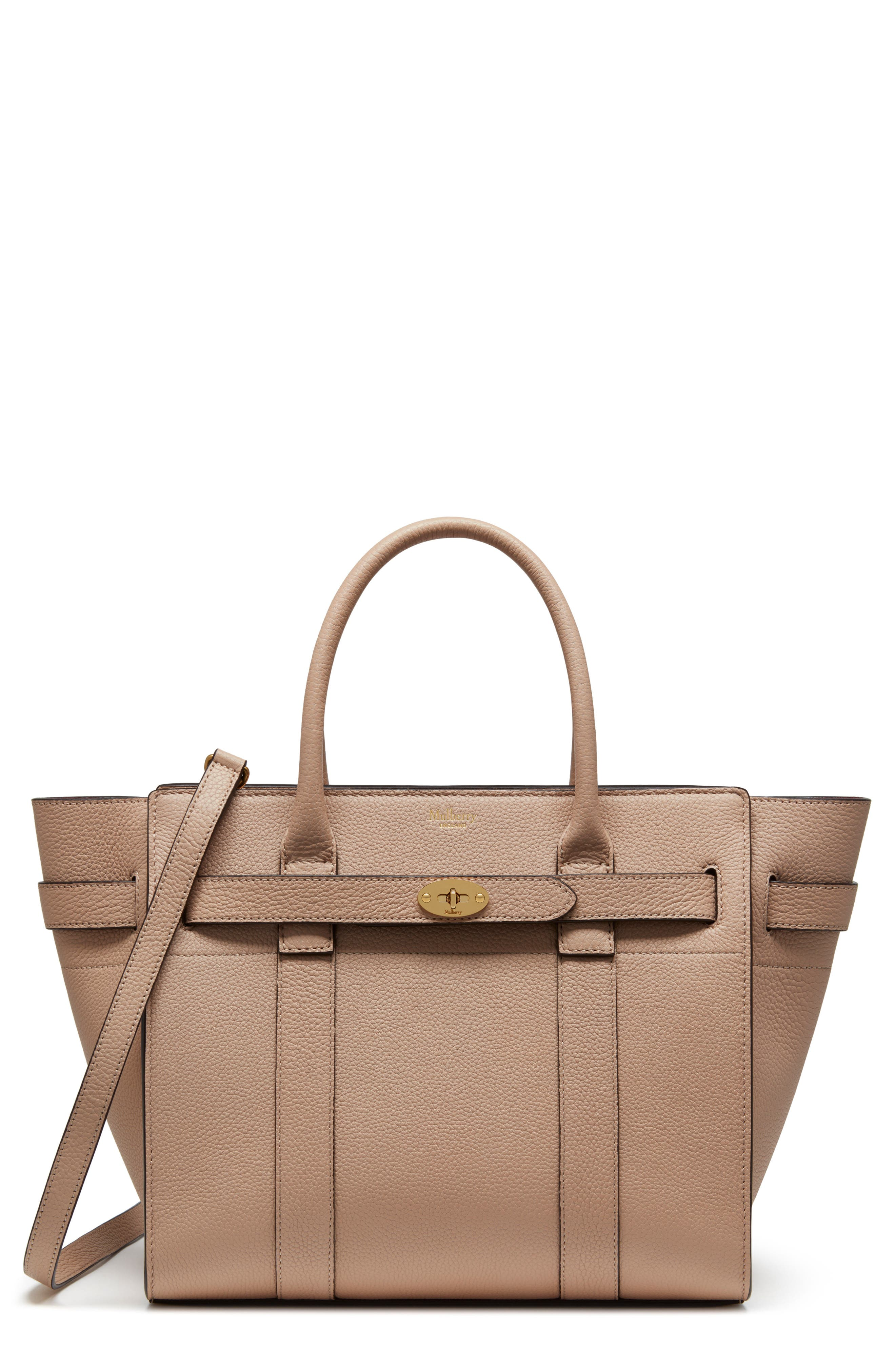Small Zip Bayswater Classic Leather Tote,                         Main,                         color, Rosewater