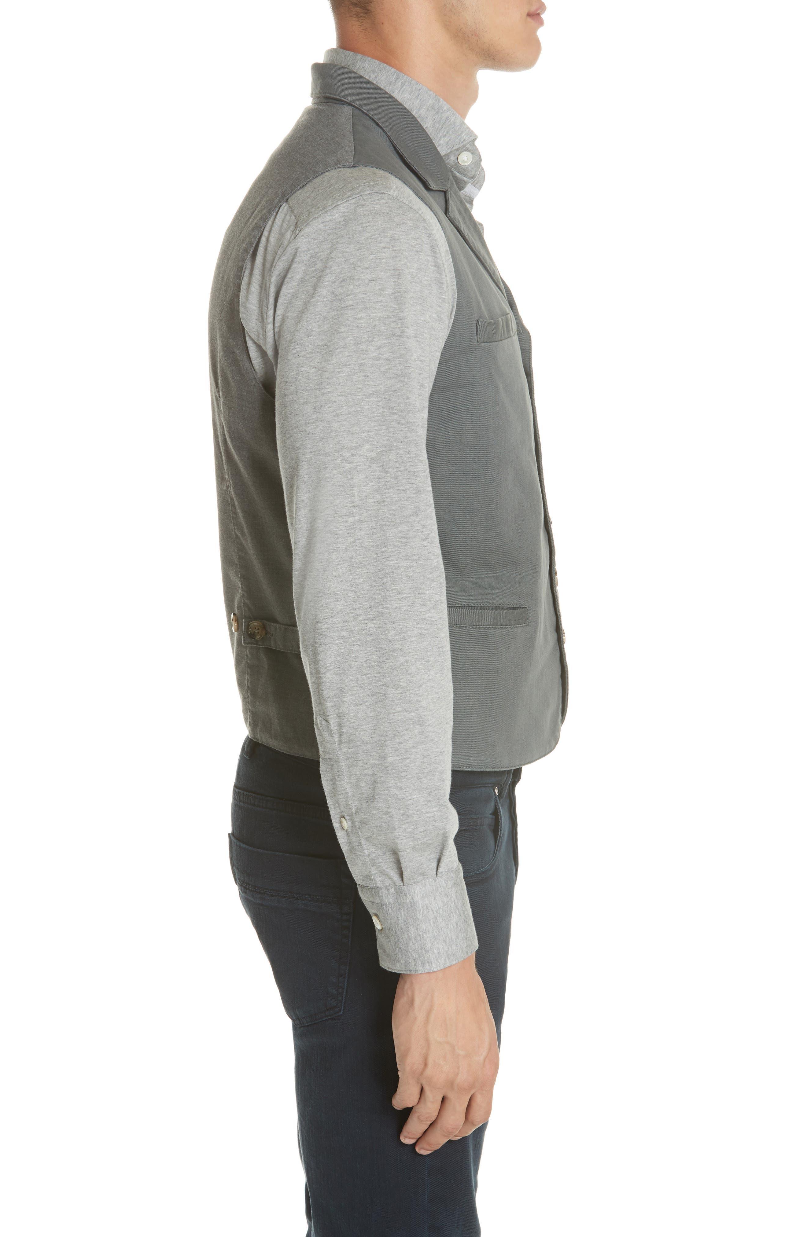 Slim Fit Stretch Cotton Twill Vest,                             Alternate thumbnail 3, color,                             Dark Grey