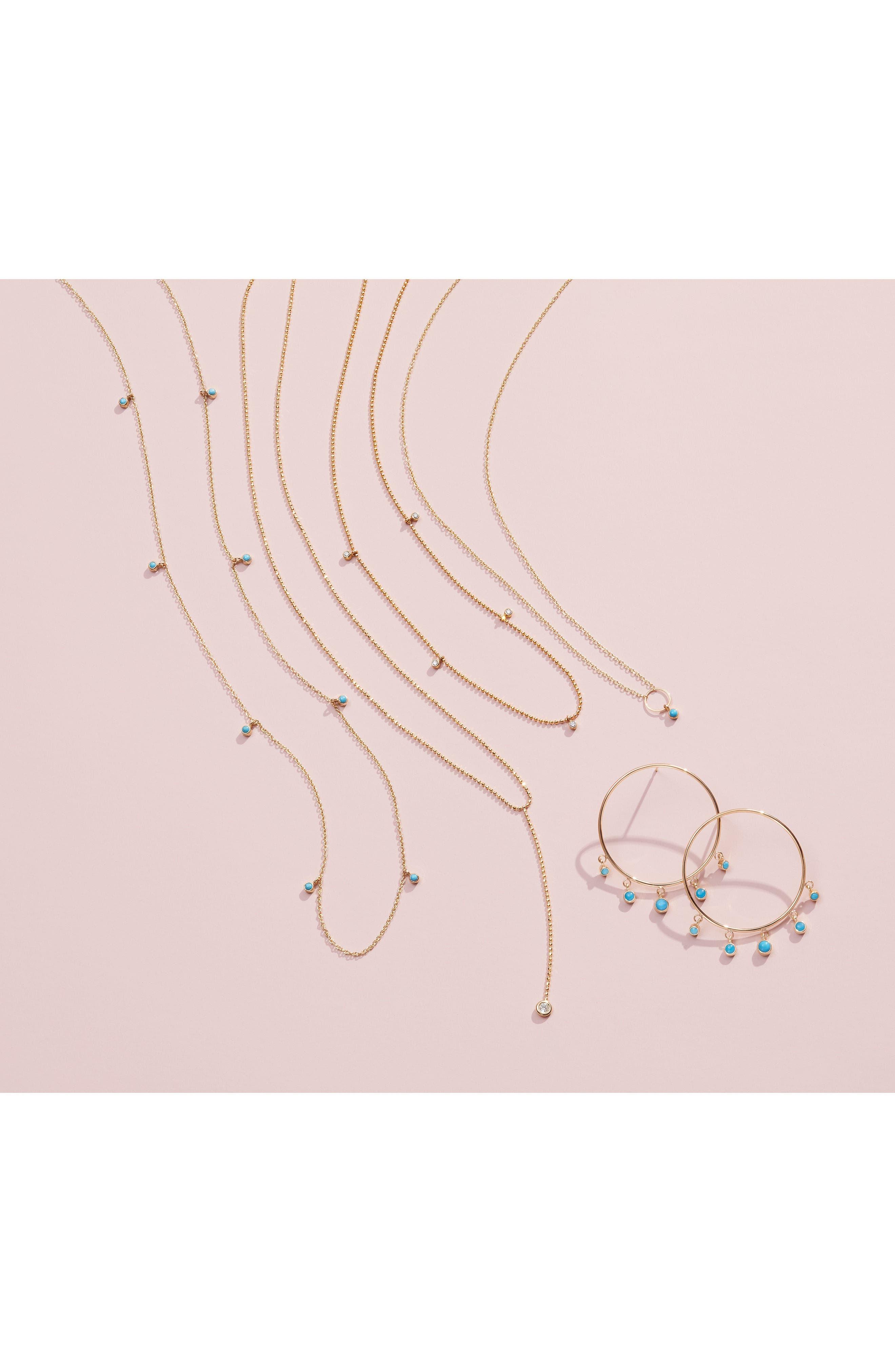 Zoe Chicco Dangling Turquoise Hoop Earrings,                             Alternate thumbnail 3, color,