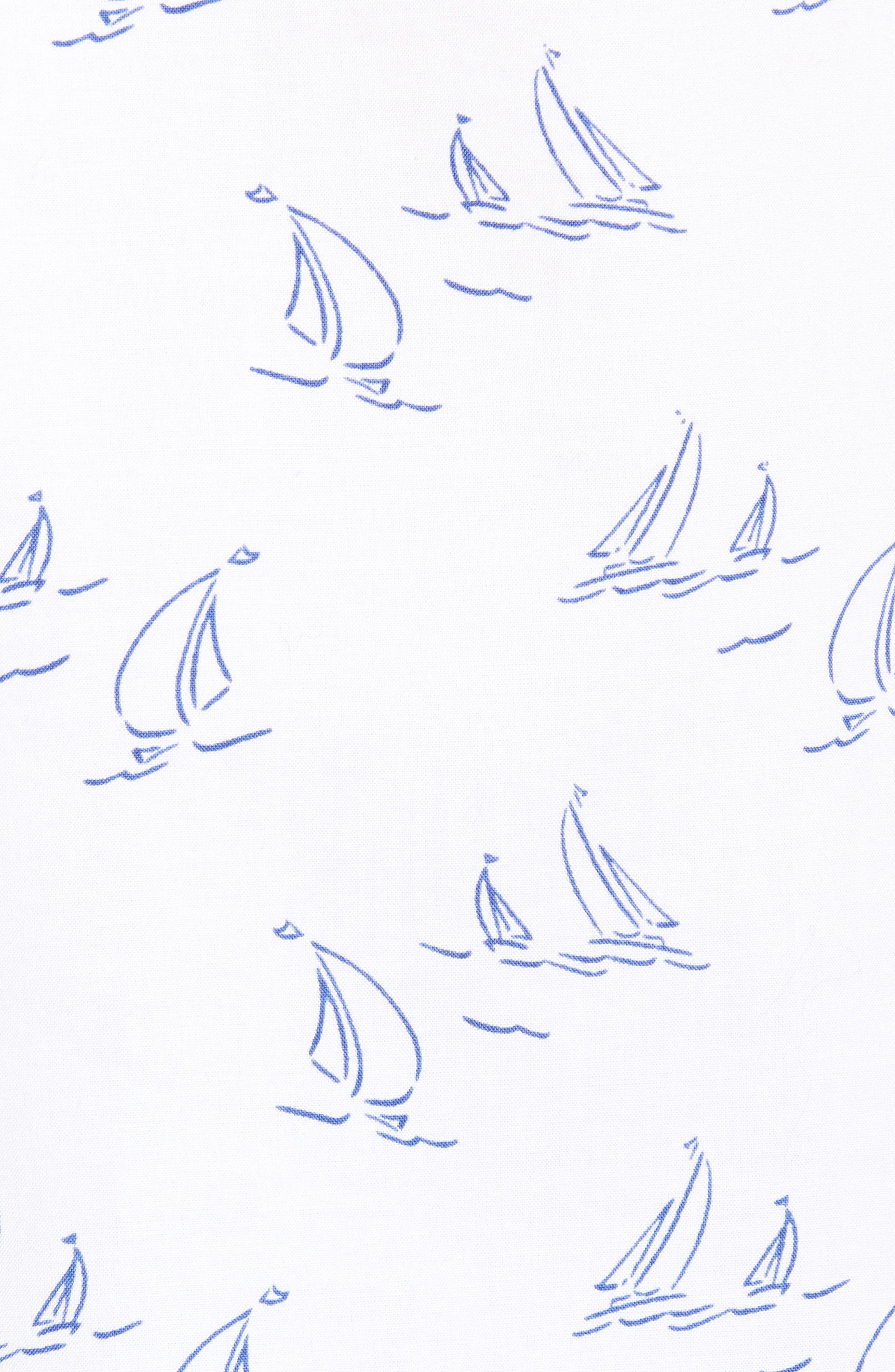 Sailboat Print Popover Top,                             Alternate thumbnail 5, color,                             White Cap