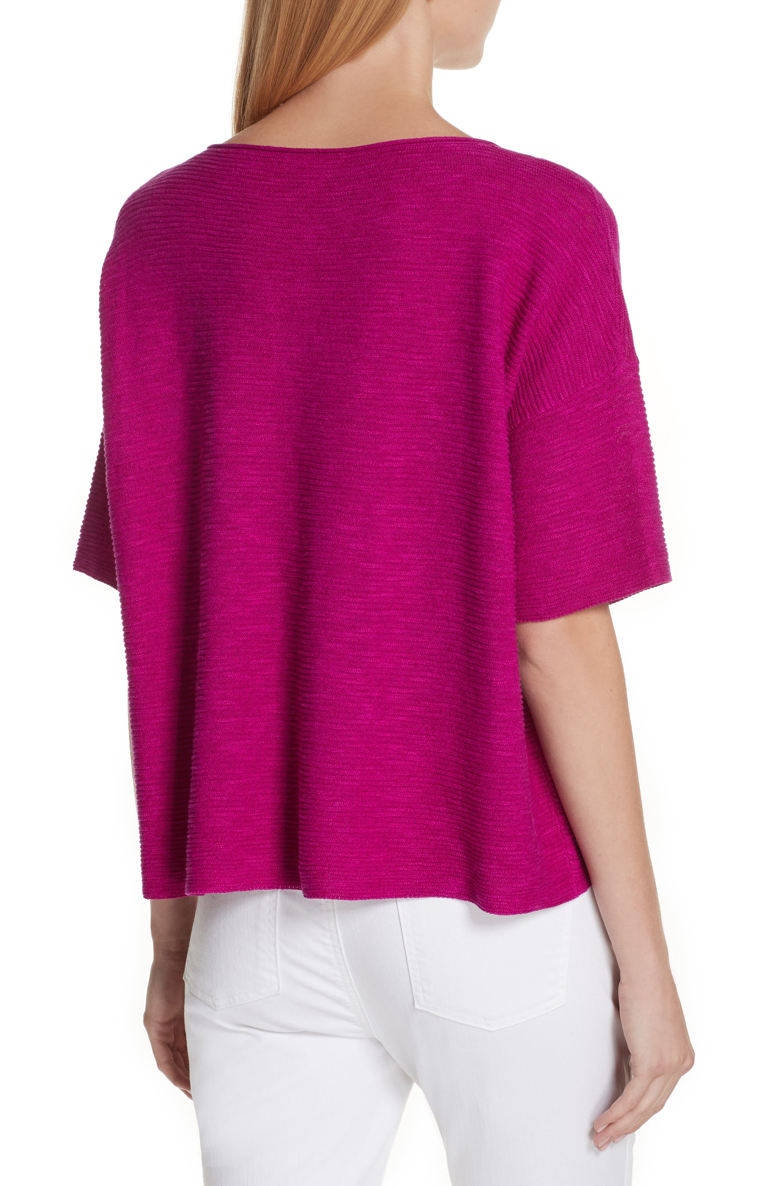 Bateau Neck Linen & Cotton Box Top,                             Alternate thumbnail 2, color,                             Cerise